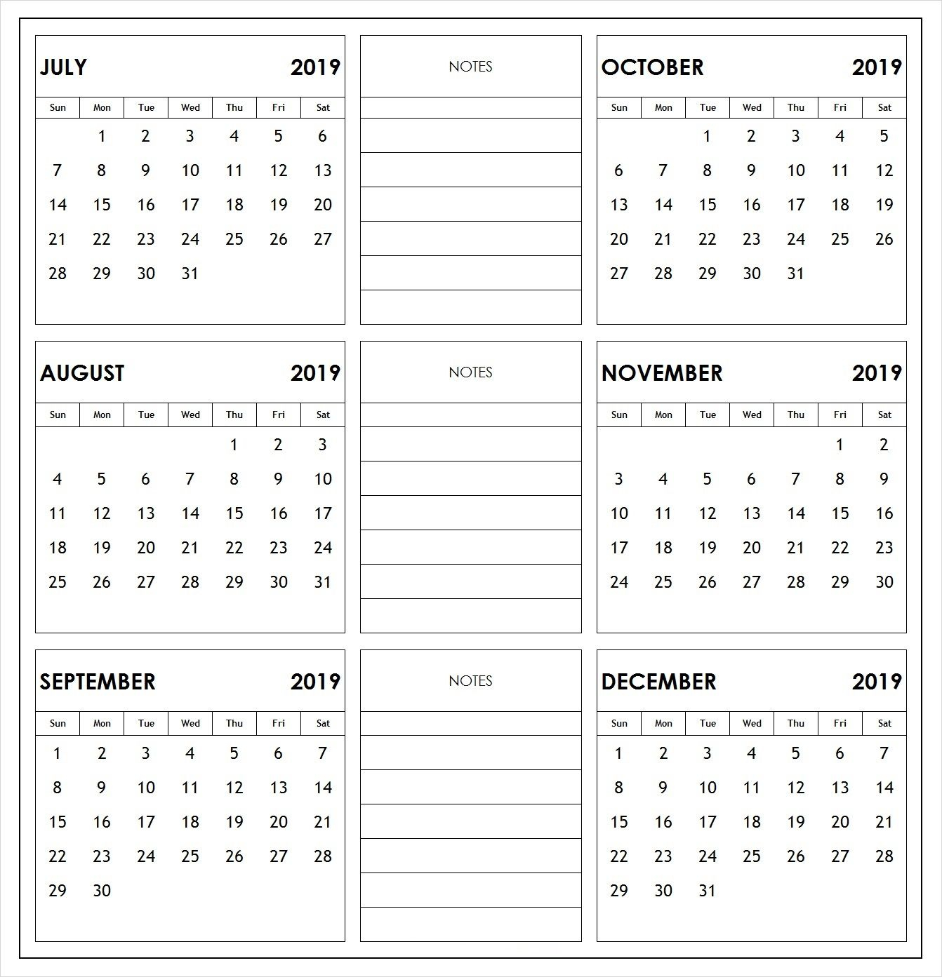 2019 6 Months Half Year Calendar Printable Download