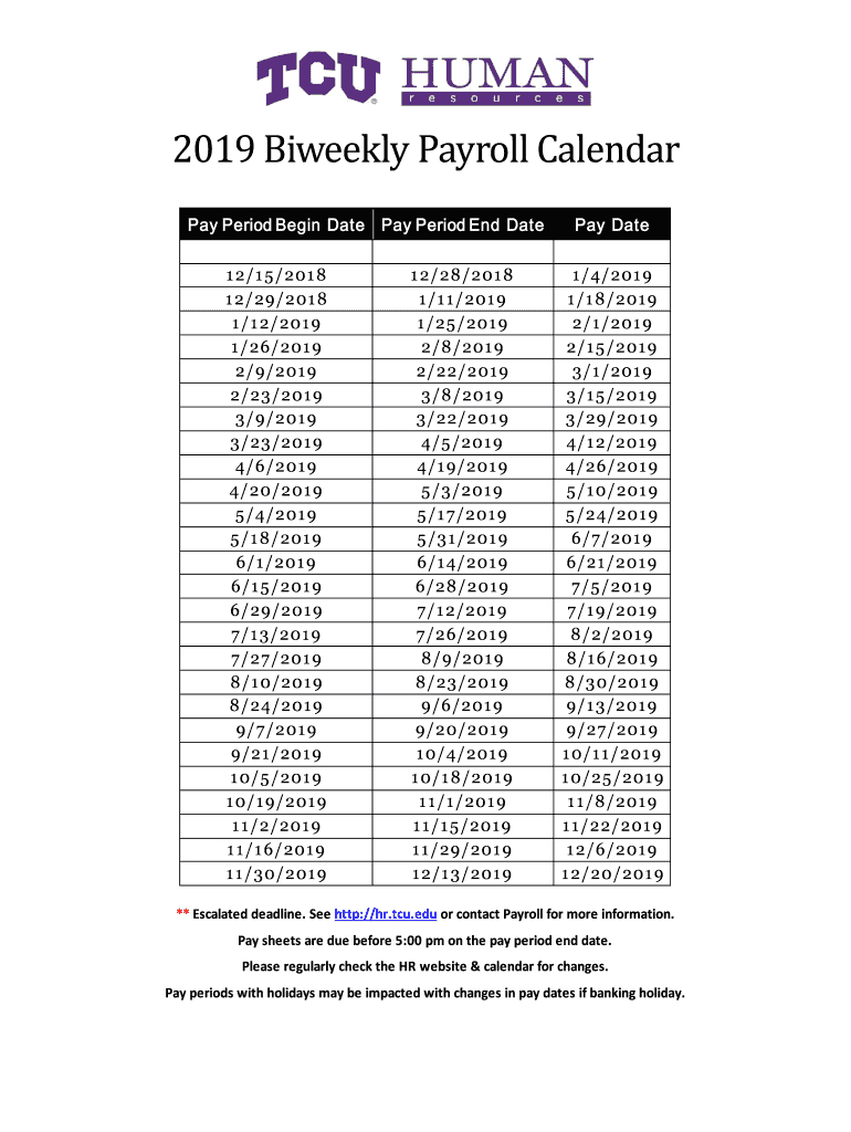 2019 Biweekly Payroll Calendar Template - Fill Online