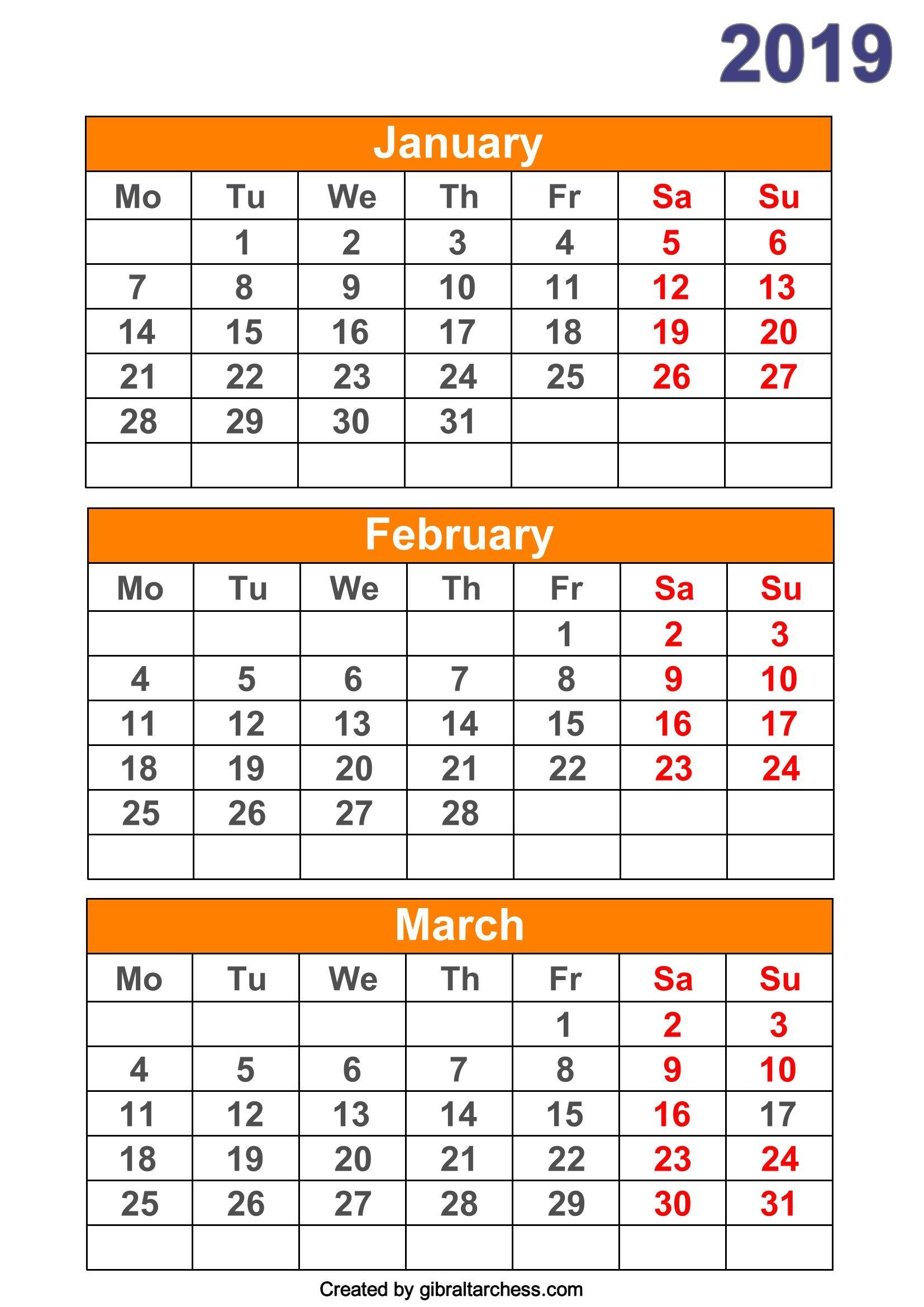 2019 Calendar 4 Months Per Page Printable | 2019 Calendar