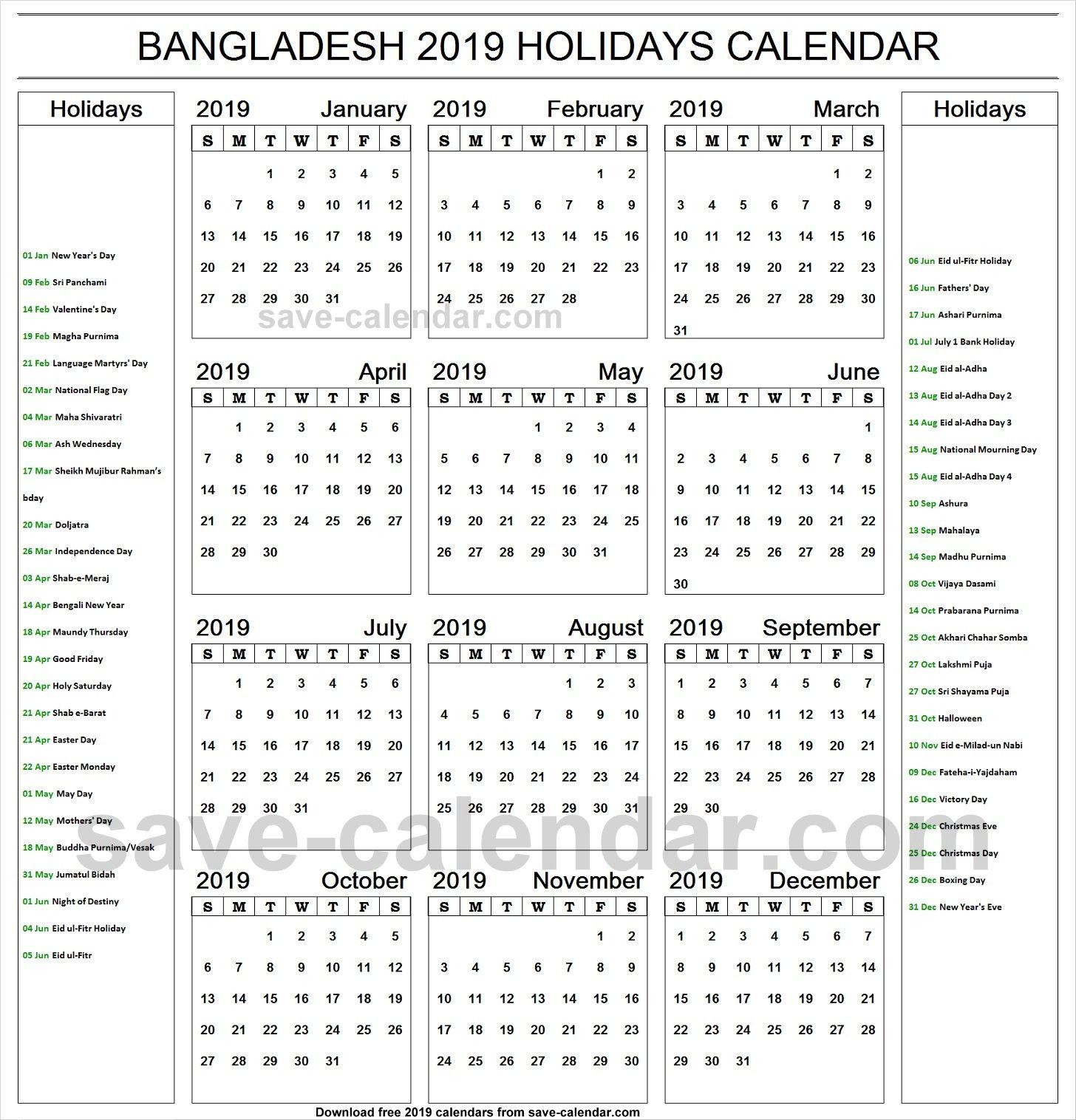 2019 Calendar Holidays Bangladesh Printable | 2019 Calendar