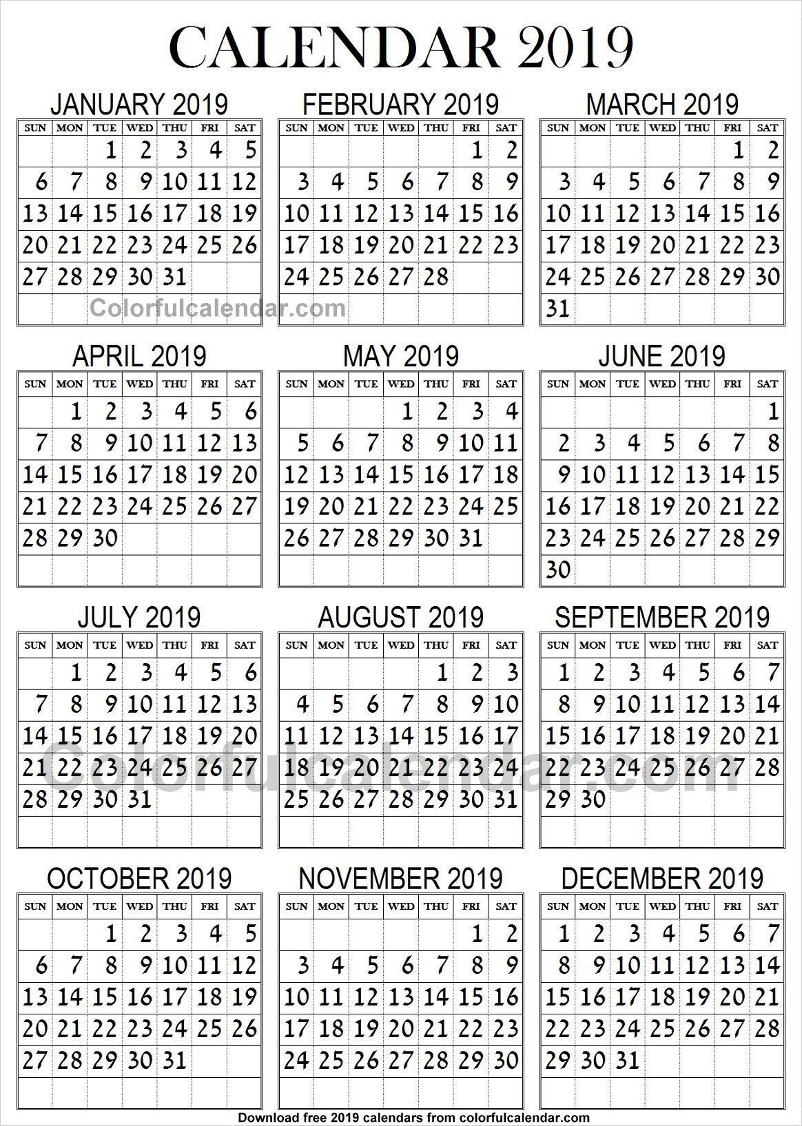 2019 Calendar Large Print | Large Prints, 2019 Calendar