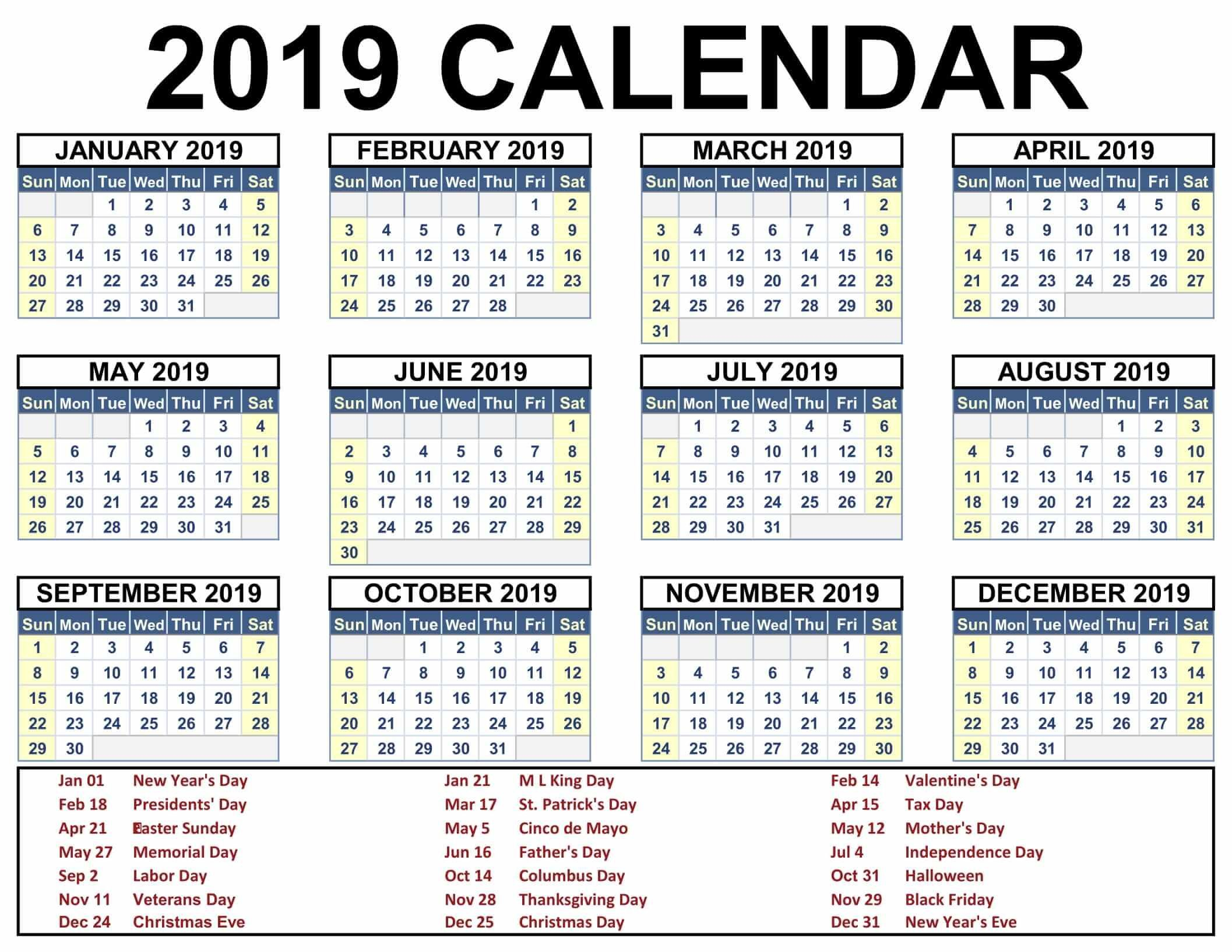 2019 Calendar With Jewish Holidays | Calendar 2019 Template