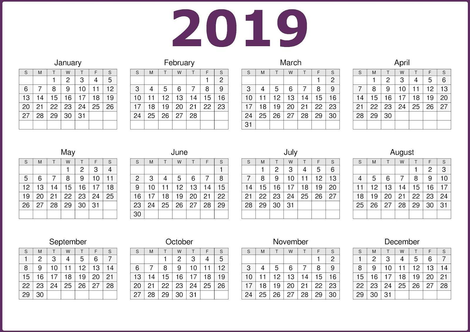2019 One Page 12 Months Calendar | Calendar 2019 Template