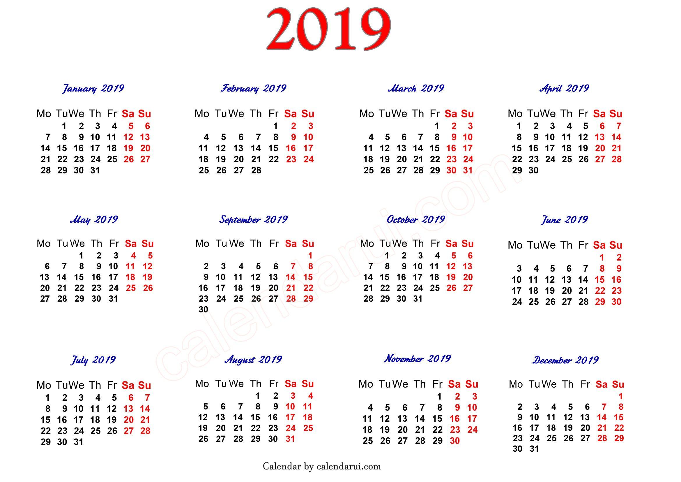 2019 Printable Calendar One Page | 2019 Calendar | 2019