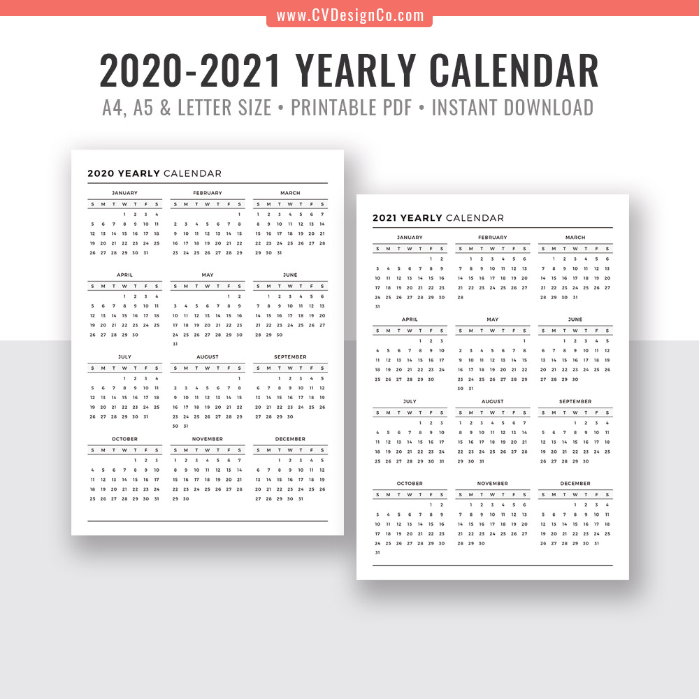 2020-2021 Yearly Calendar, Year At A Glance, Digital Printable Planner  Inserts, Sunday Start, Black & White, Printable Planner, Filofax A5, A4,  Letter