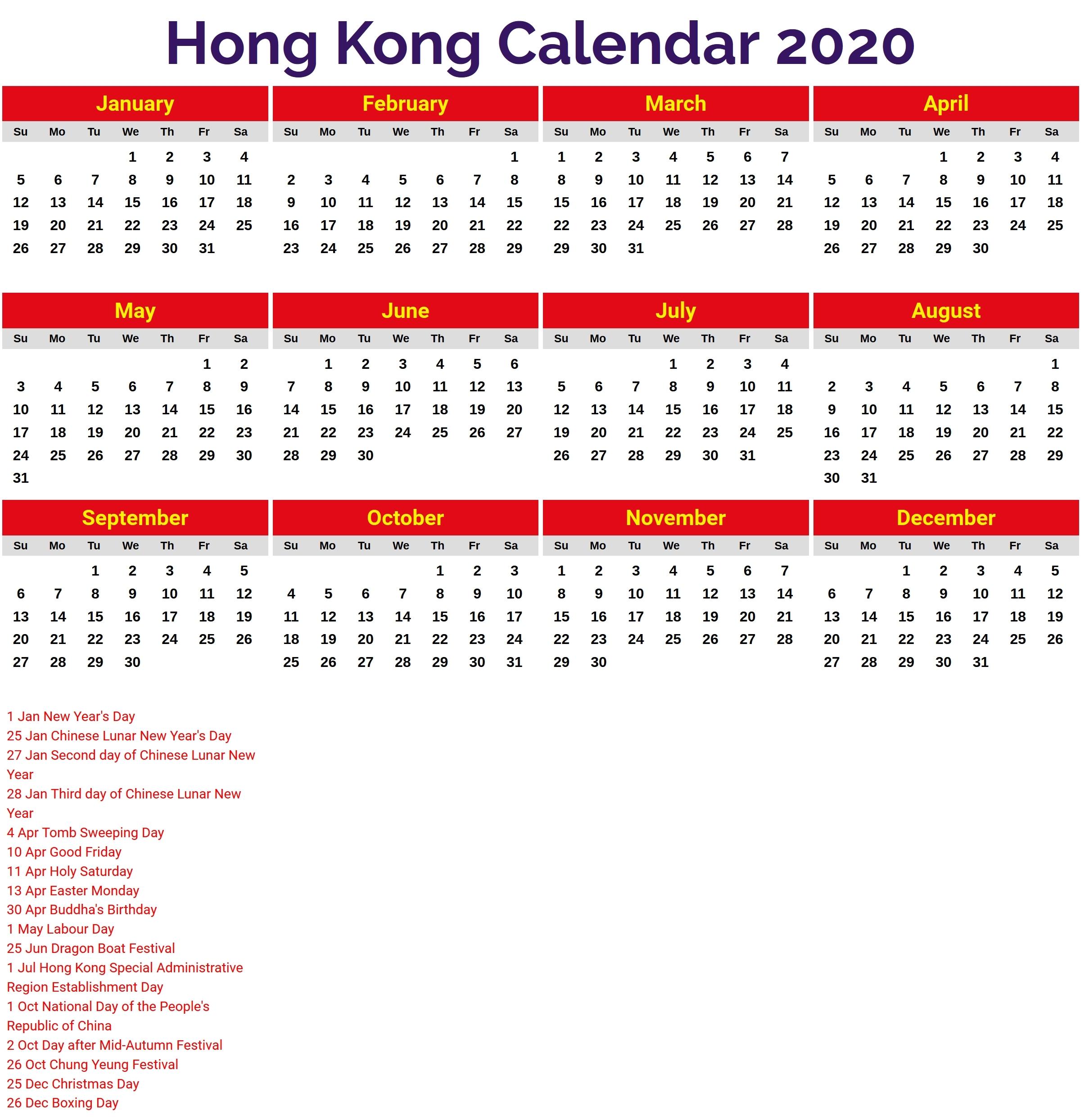 2020 Blank Hk Calender | Monthly Printable Calender