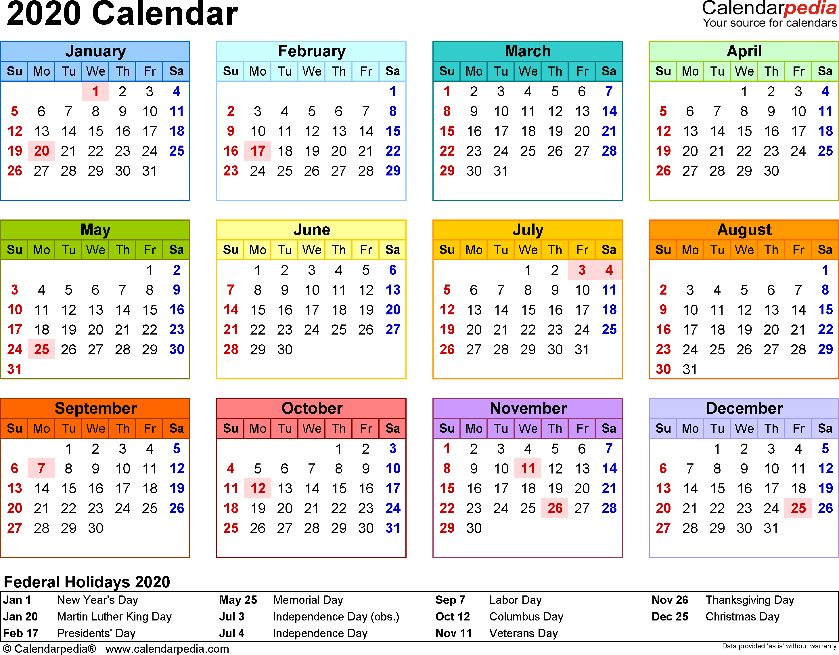 2020 Calendar - Free Printable Templates