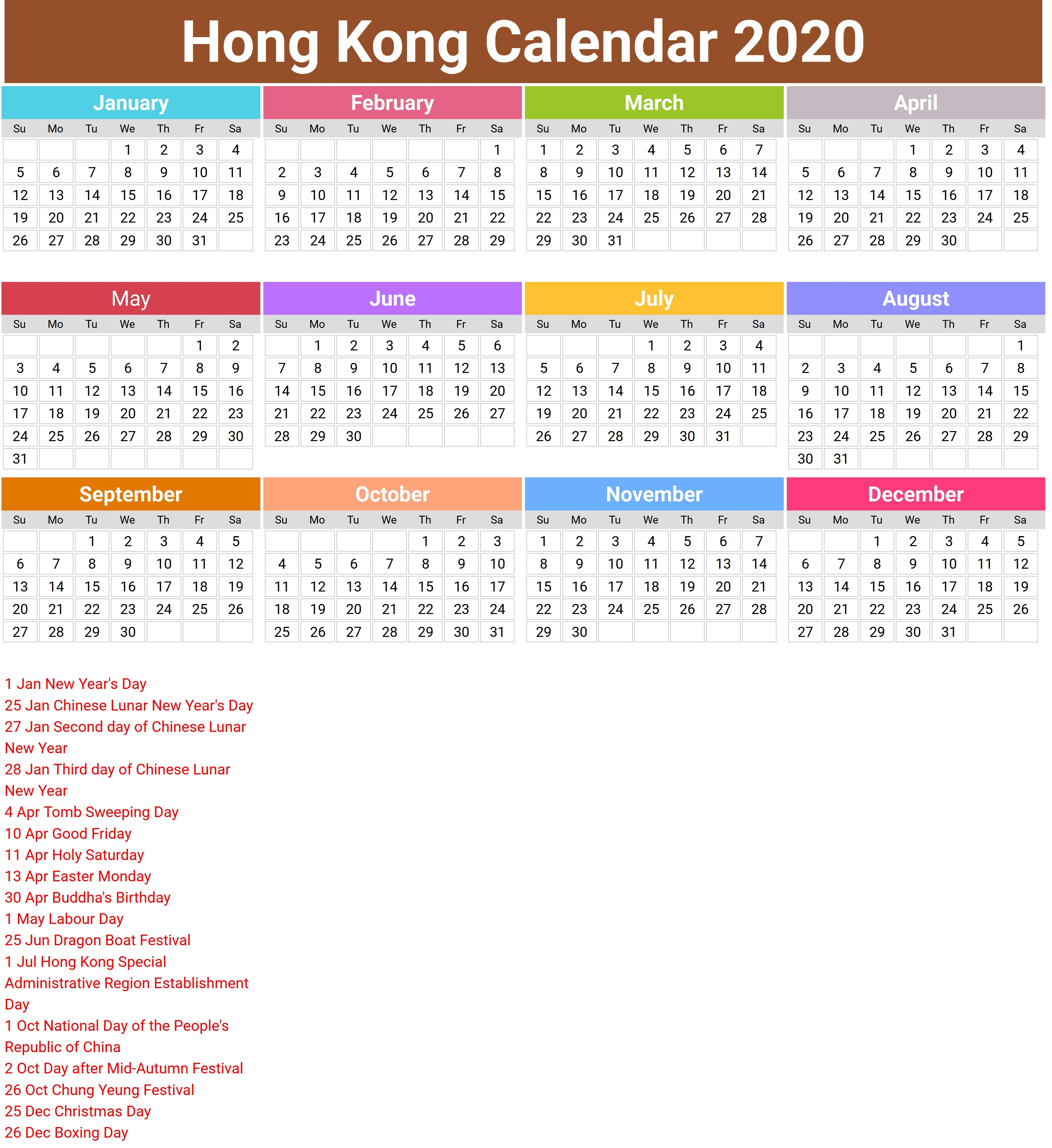 2020 Calendar Hong Kong – Printable Year Calendar Regarding