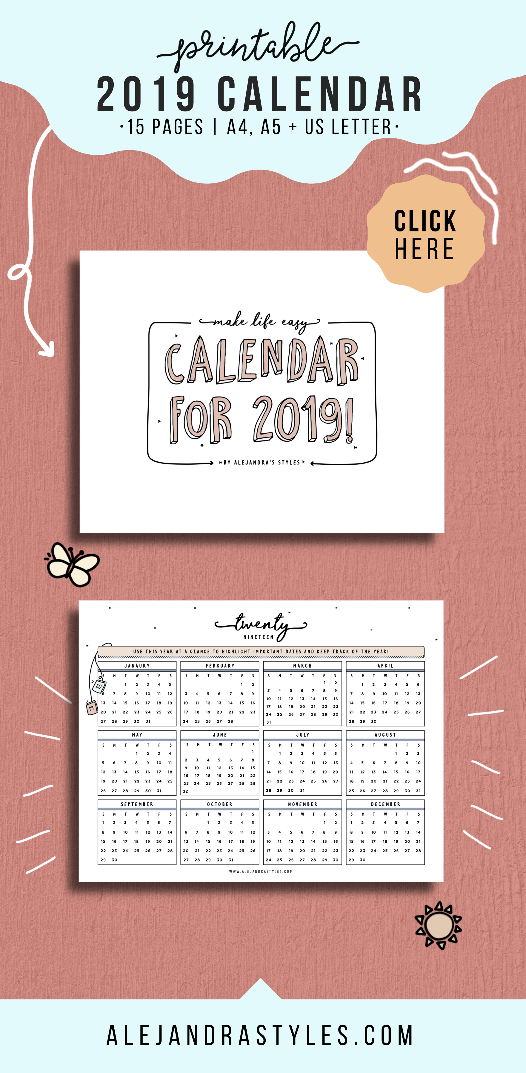 2020 Calendar Printable Planner Inserts With Monday And
