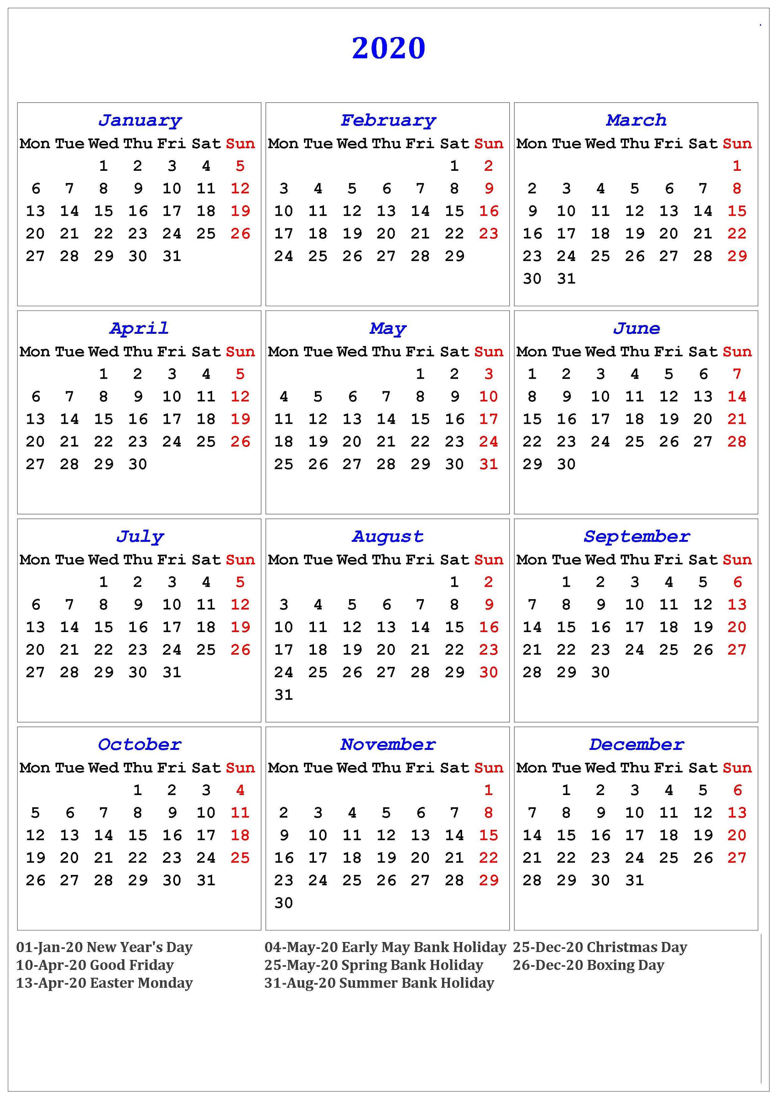 2020 Calendar Printable With Holidays And Notes | Calendar