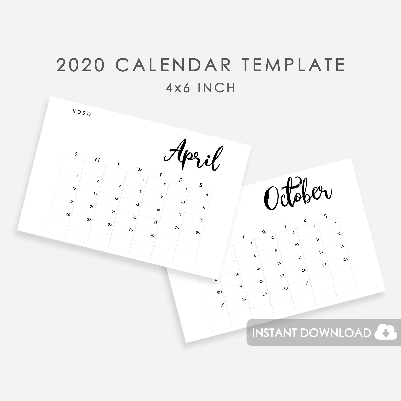 2020 Calendar Template, Calendar Template 2020 Printable, Calendar 2020  Template, Photo Calendar Template Minimalist, Editable Calendar 2020