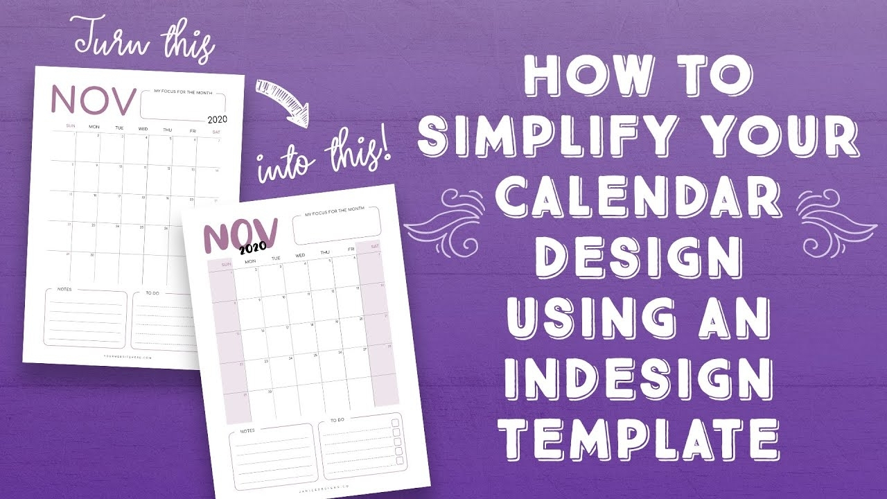 2020 Calendar Template Indesig | Monthly Printable Calender