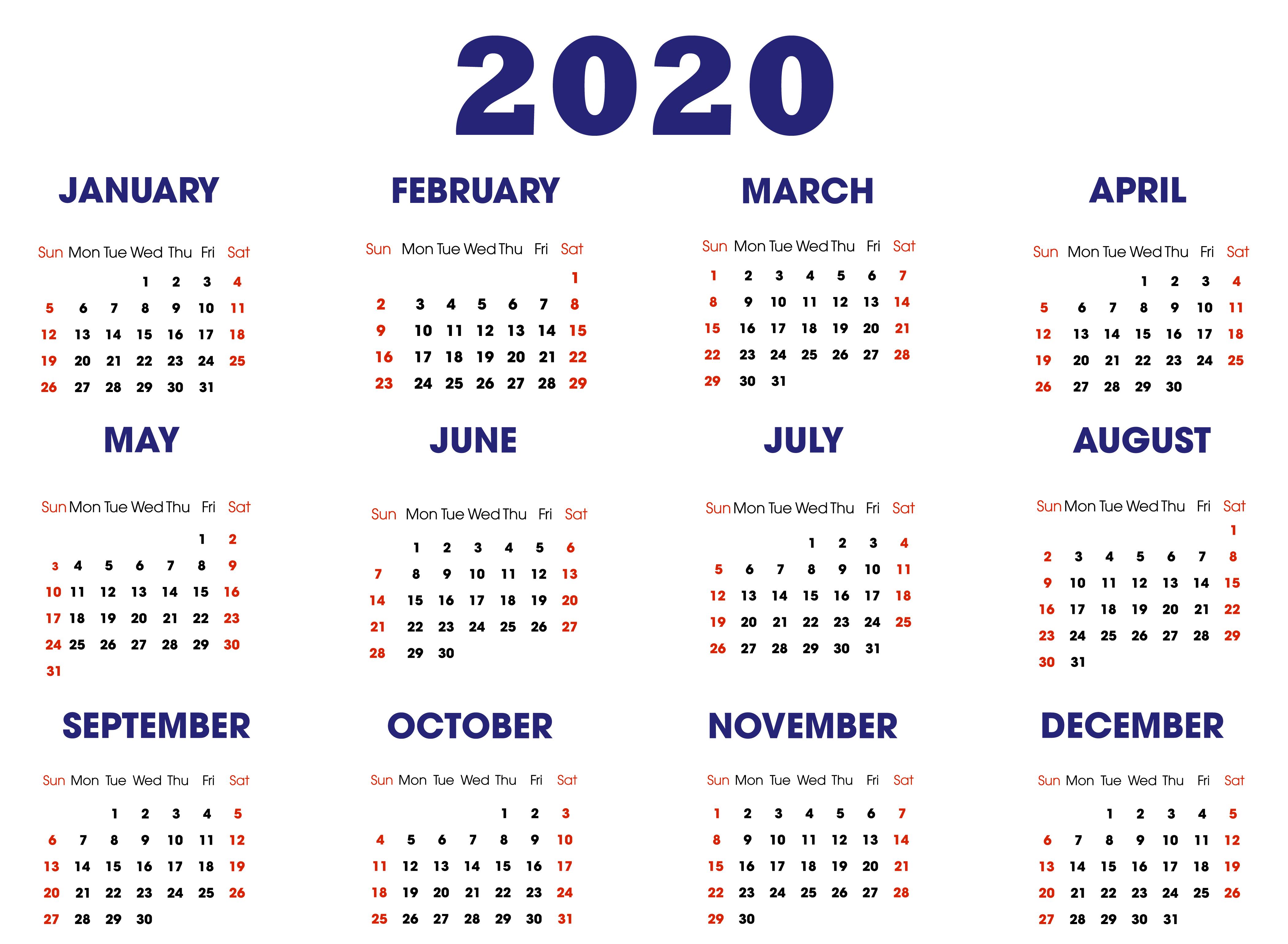 2020 Calendar Template | Printable Calendar Template, Free
