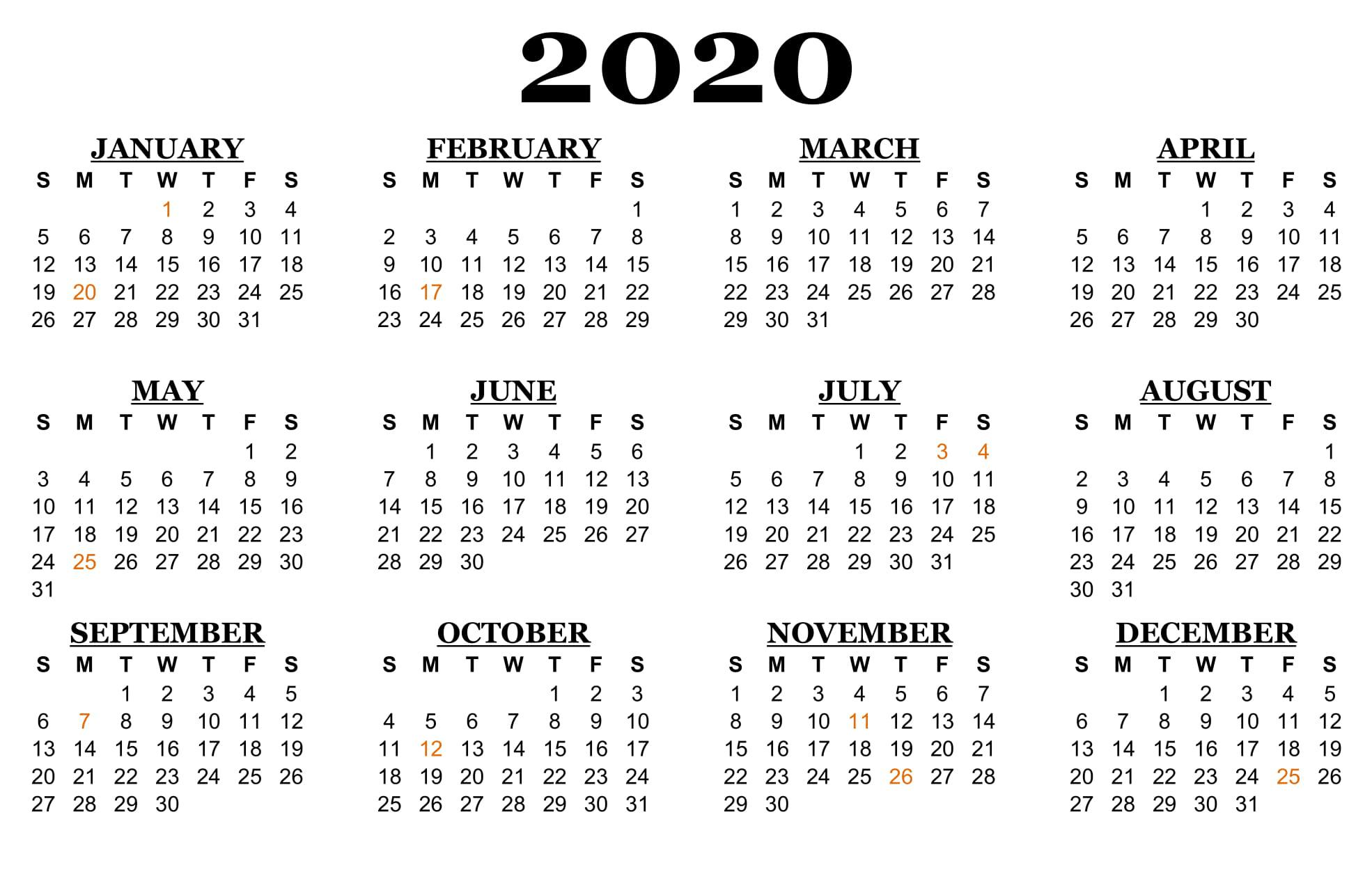 2020-Calendar-Us-Holidays-Min | Printable Template Calendar