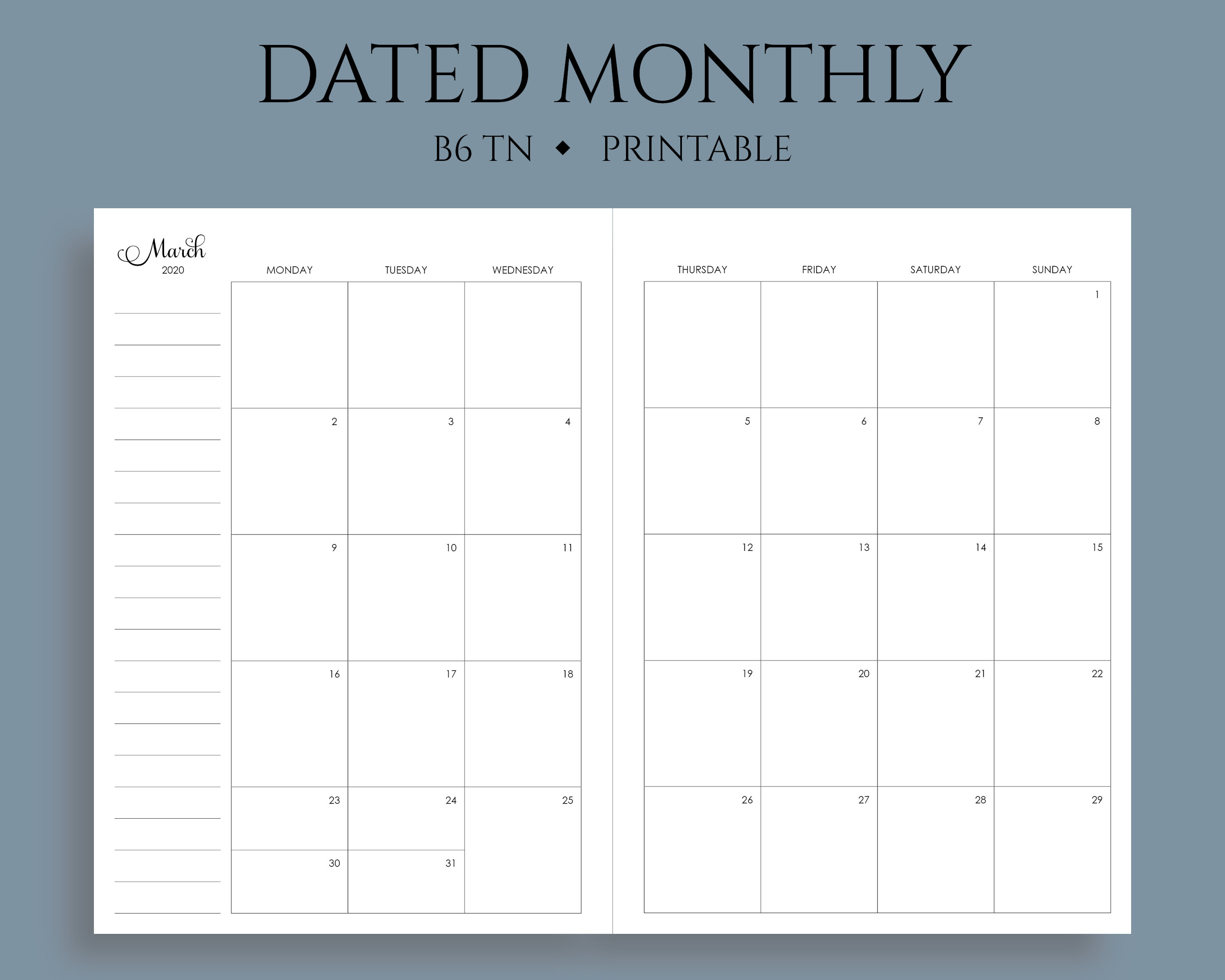 "2020 Dated Monthly Calendar Printable Planner Inserts, Monday Start, Mo2P,  U.s. Holidays ~ B6 Tn / No. 5 / 5"" X 7"" Pdf Download"