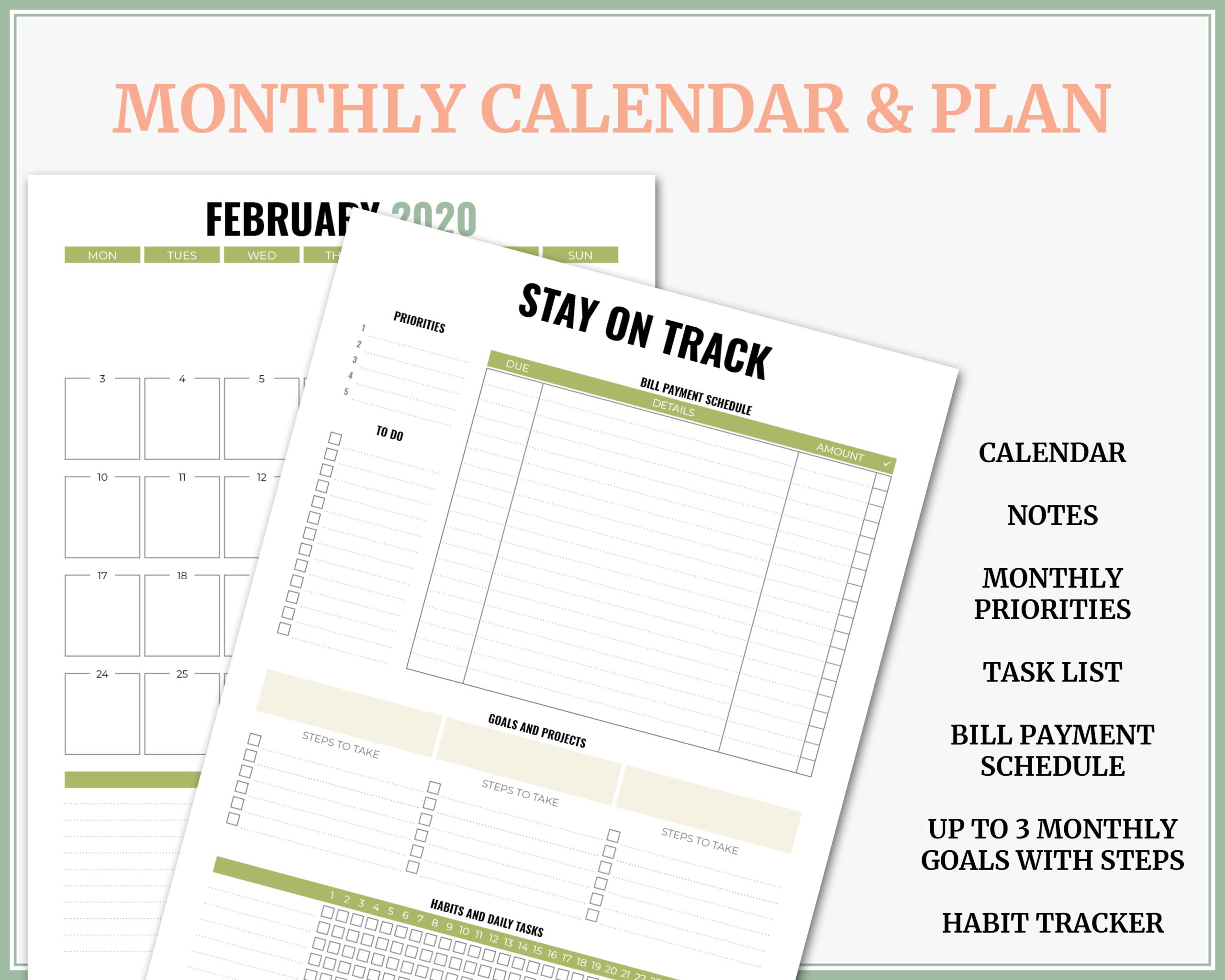 """2020 """"fresh Citrus"""" Weekly Vertical Printable Planner"""