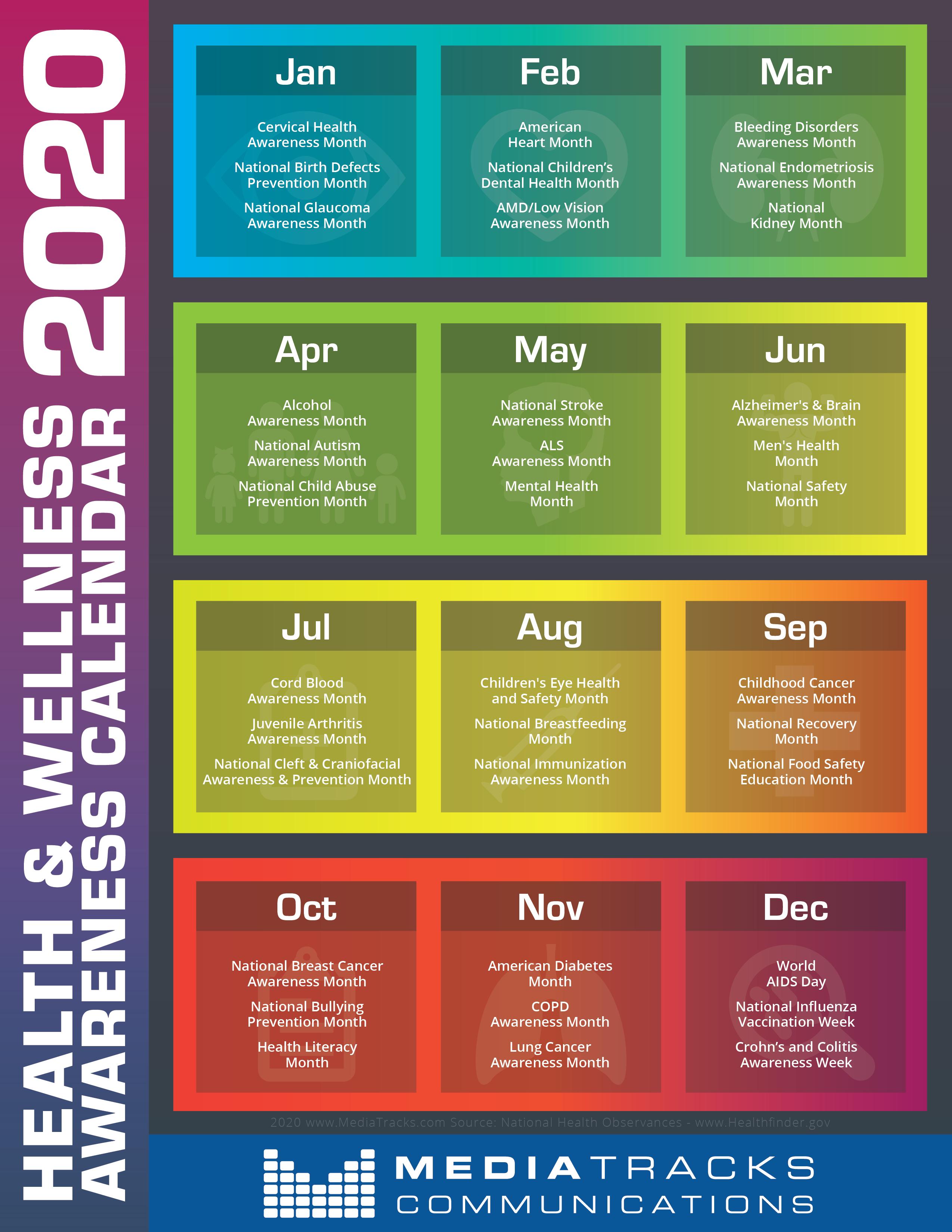 2020 Health & Wellness Awareness Calendar [Infographic