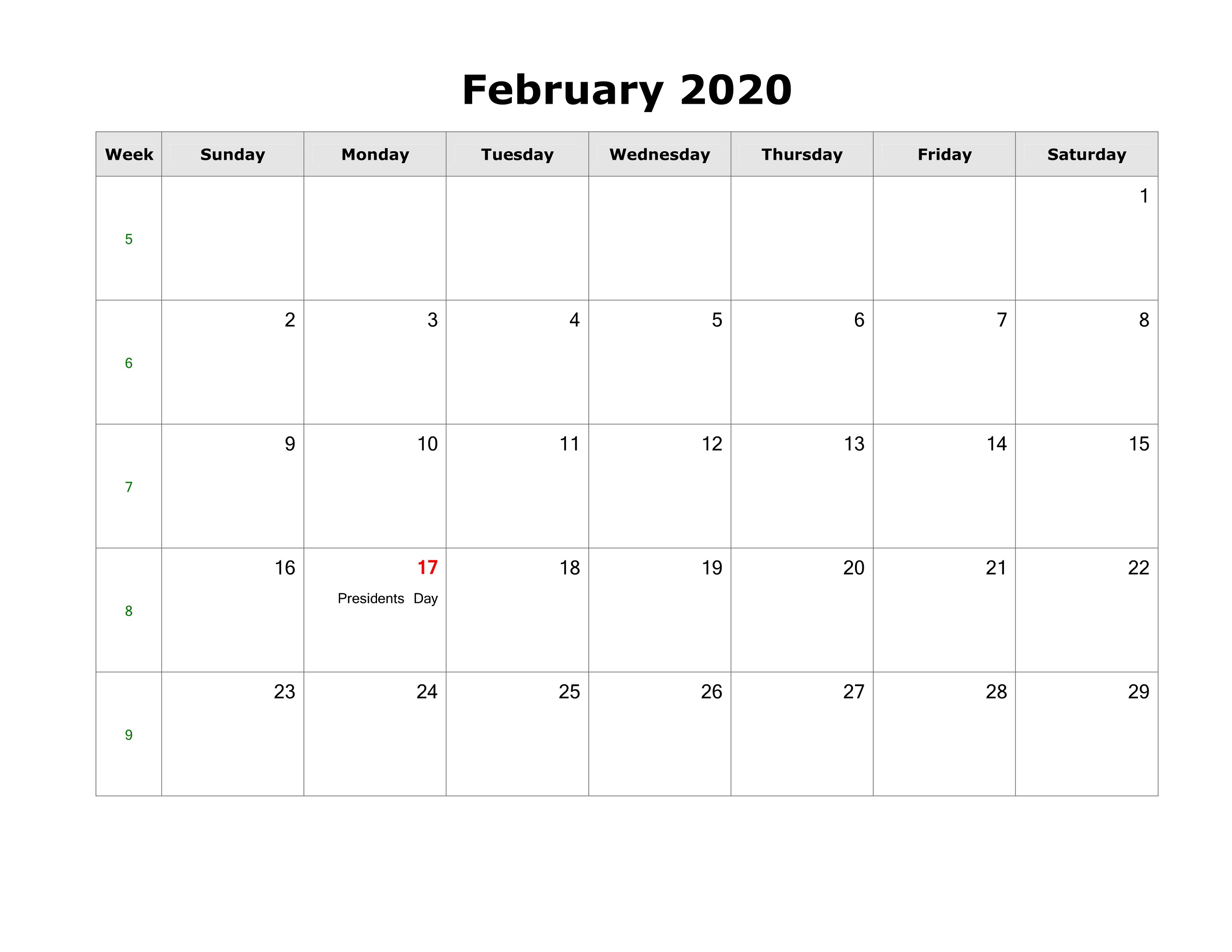 2020 Holiday Calendar Blank For Quick Usage | Calendar Shelter