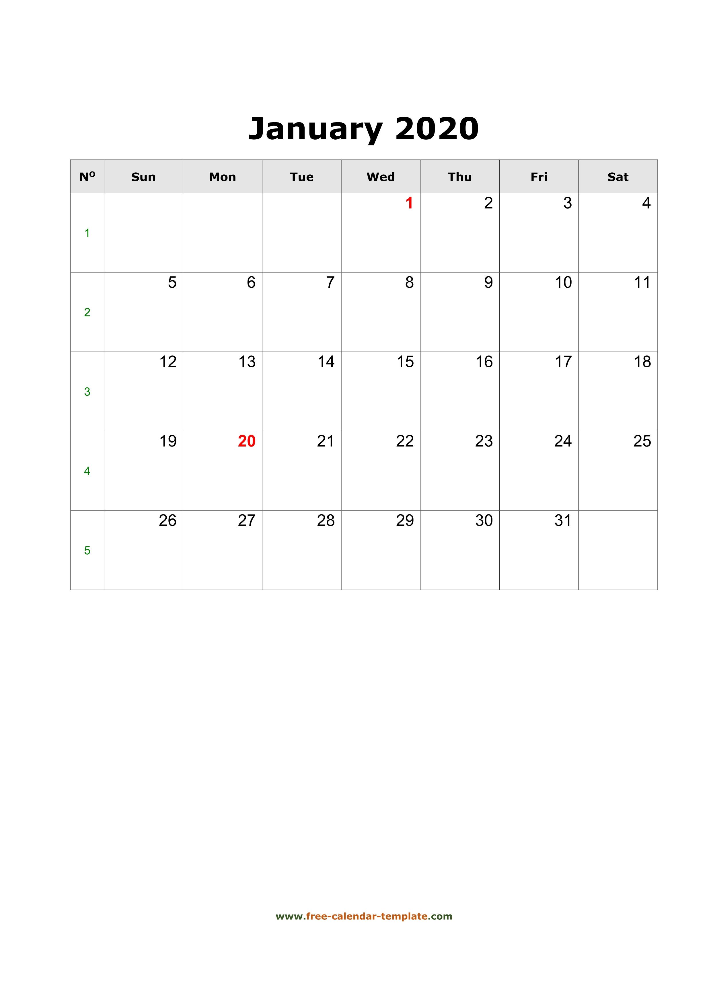 2020 January Calendar (Blank Vertical Template)   Free