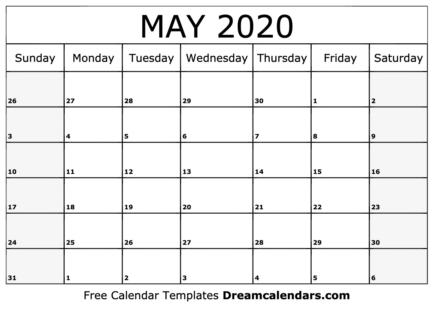 2020 May Printable Calendar - Tunu.redmini.co