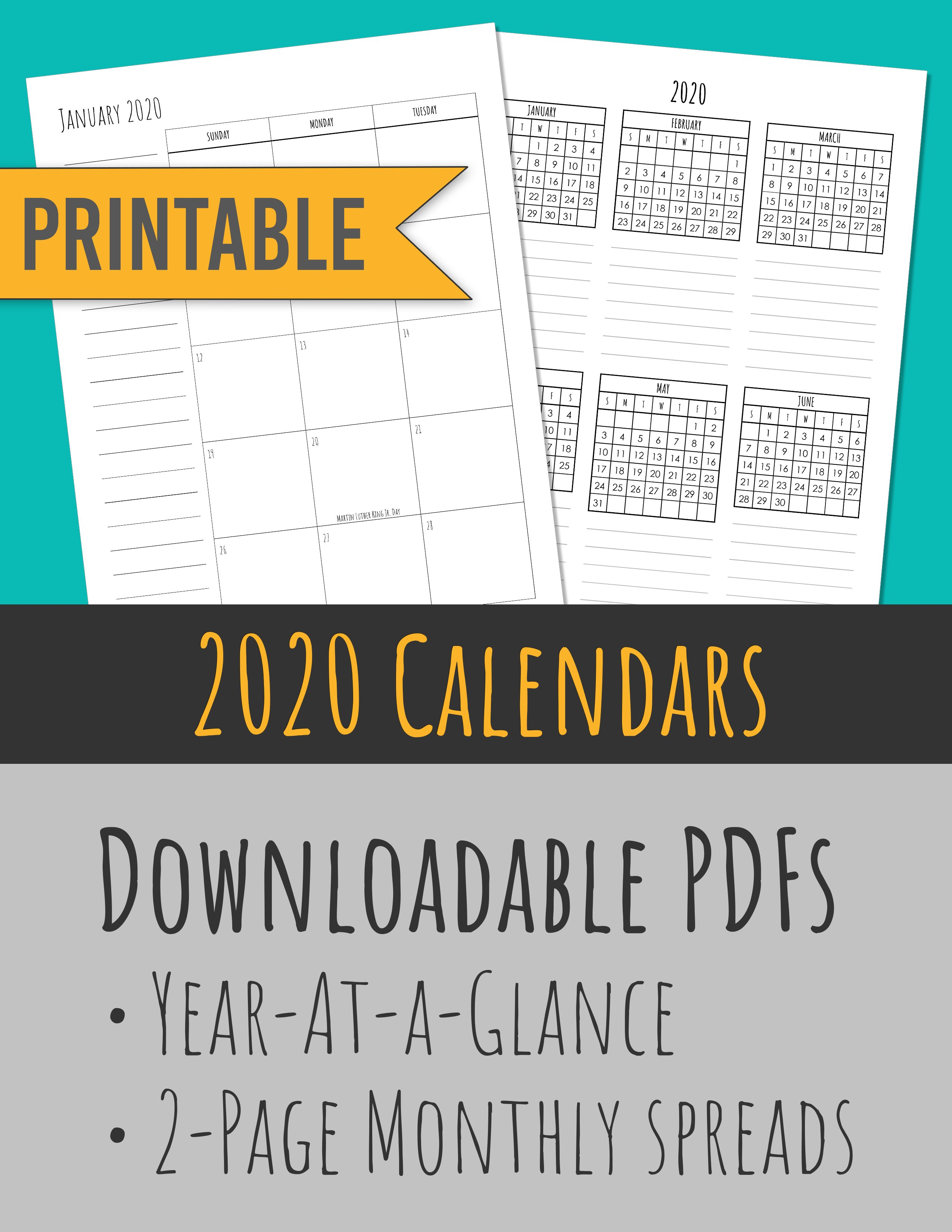 2020 Monthly Calendars + Year-At-A-Glance | Skinny Handwriting
