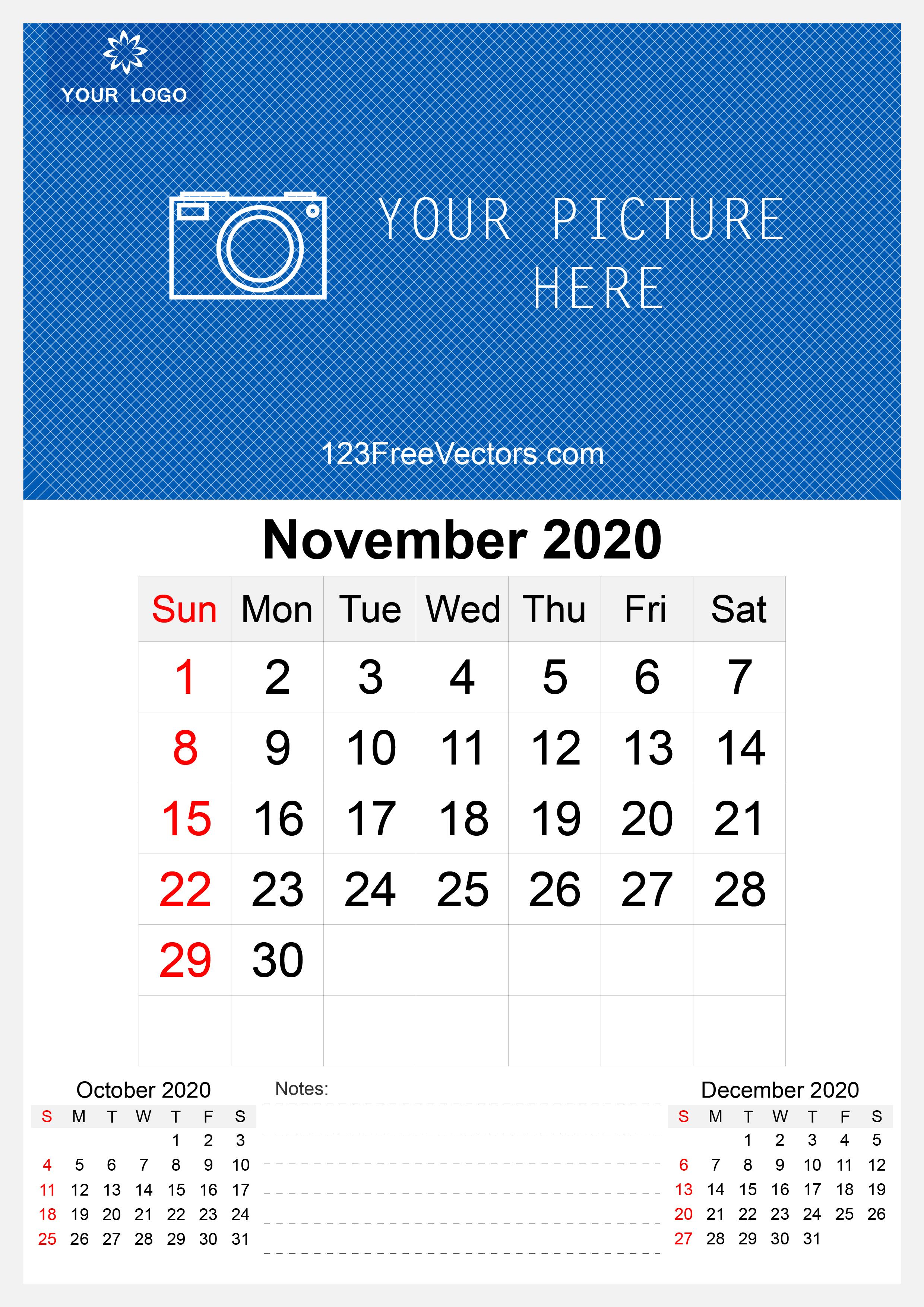 2020 November Wall Calendar Template Free
