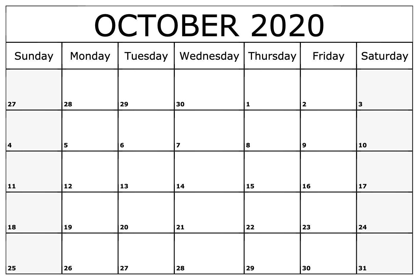 2020 October Calendar | Free Printable Calendar Templates