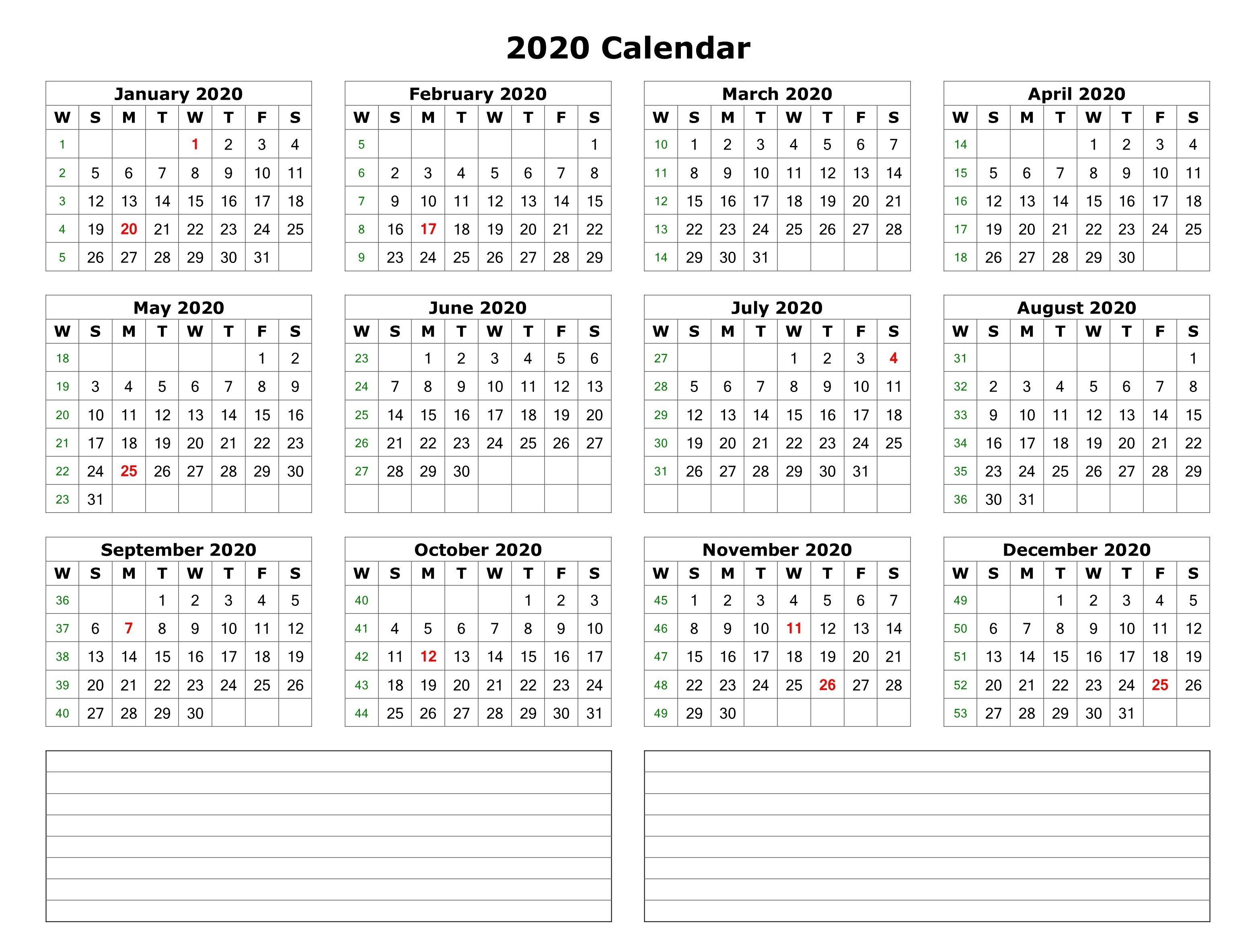 2020 One Page Calendar With Notes | Monthly Calendar