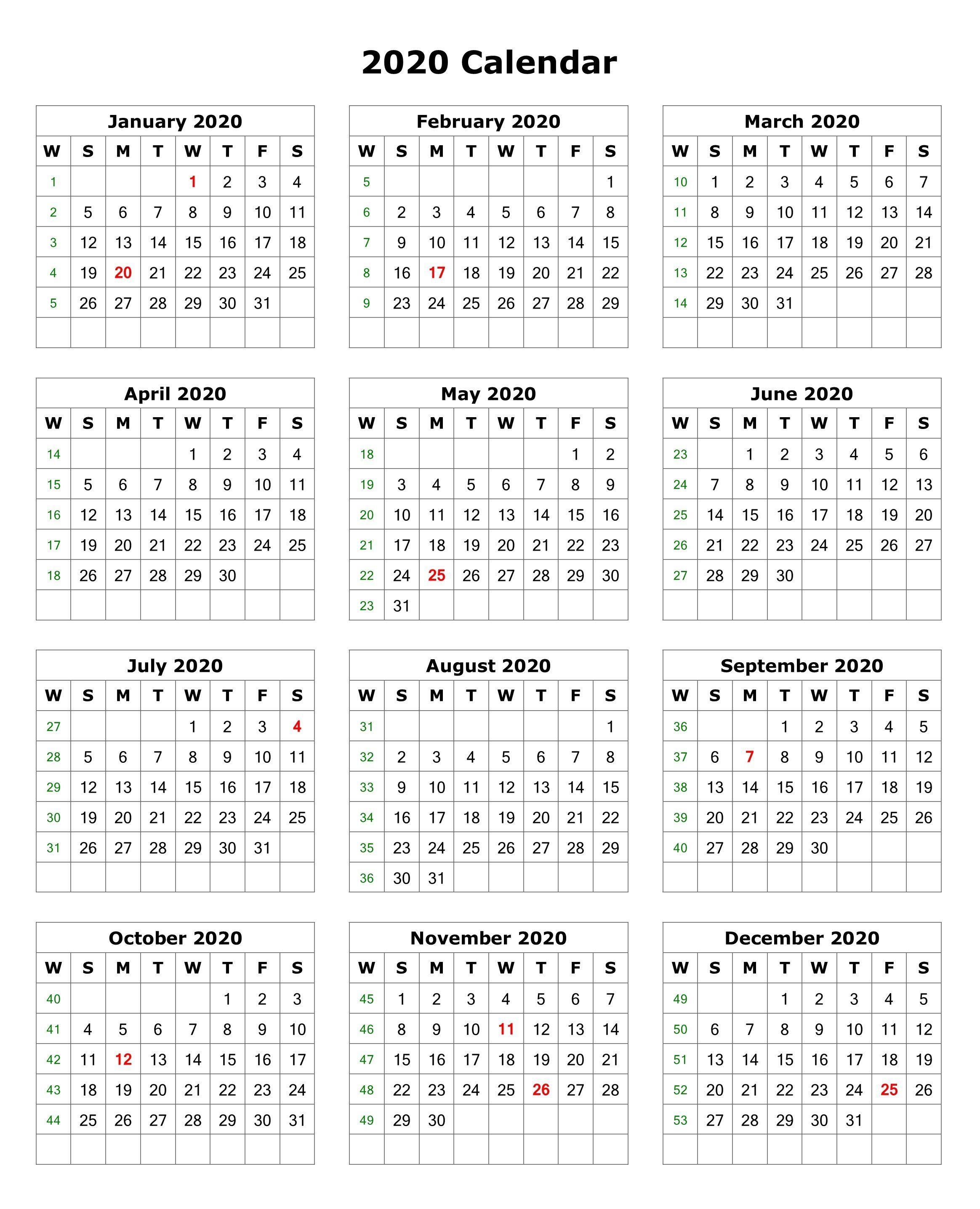2020 One Page Portrait Calendar | Printable Calendar