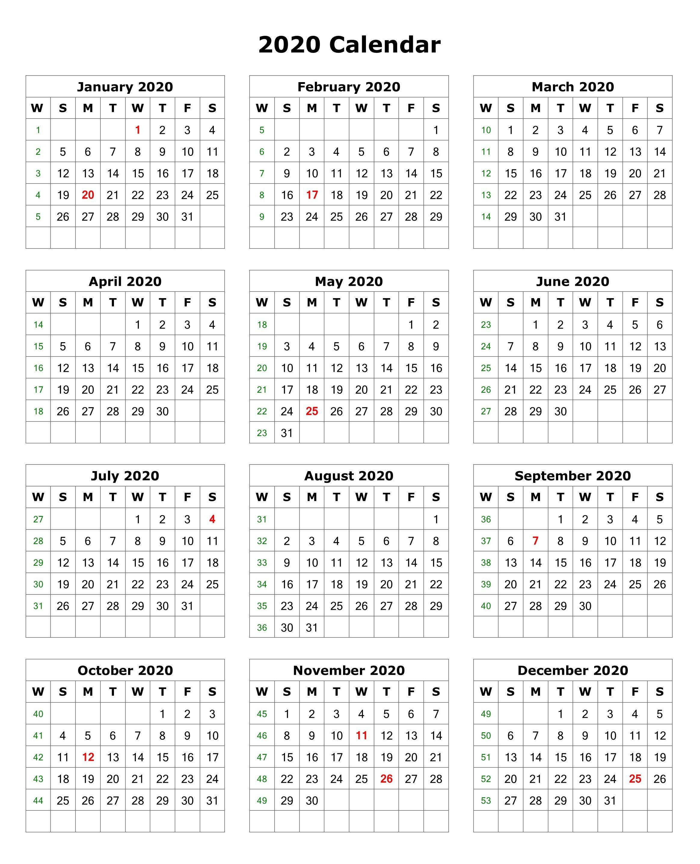 2020 One Page Portrait Calendar   Printable Calendar