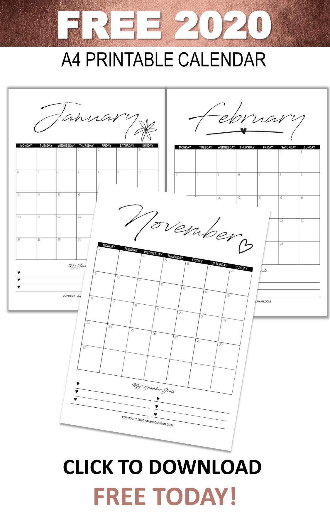 2020 Printable Calendar Goals | Free Printable Calendar