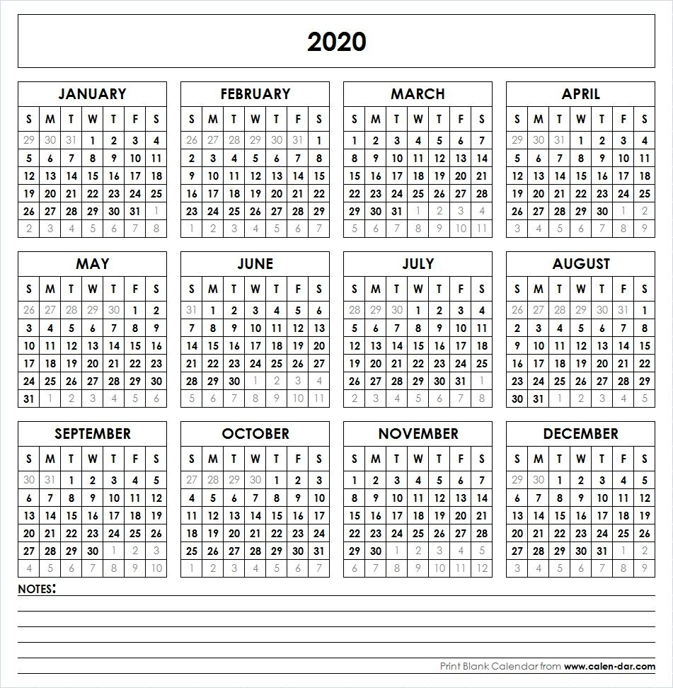 2020 Printable Calendar | Printable Yearly Calendar, Yearly