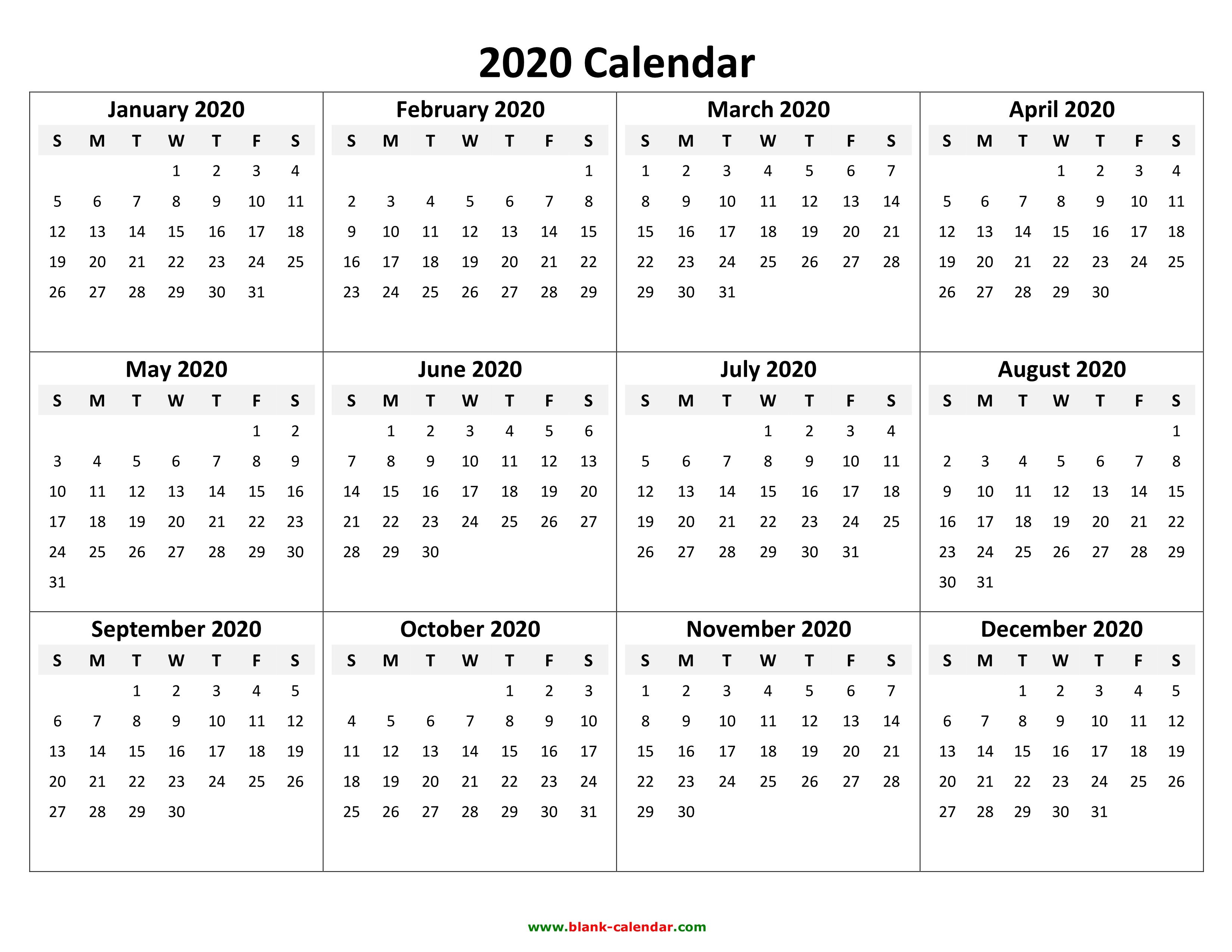 2020 Printable Calendar Yearly - Tunu.redmini.co