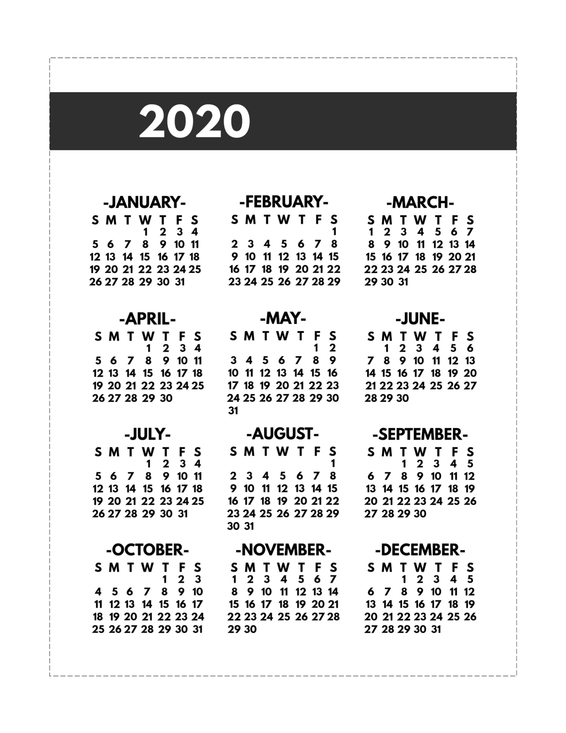 2020 Printable One Page Year At A Glance Calendar - Paper