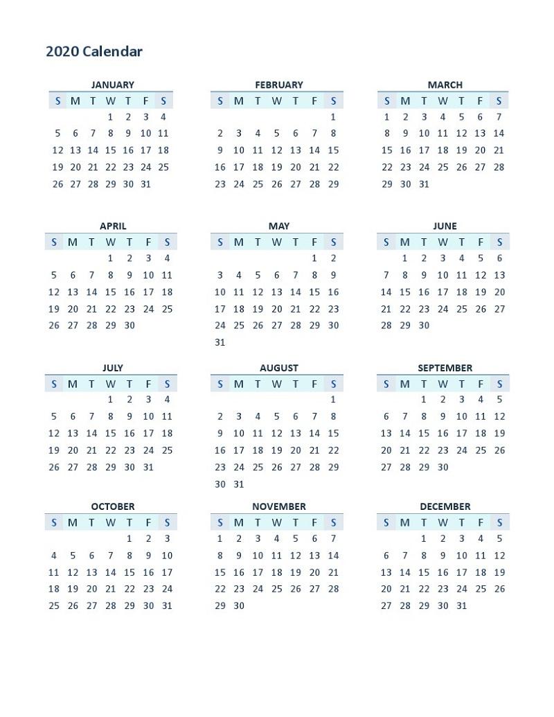 2020 Yearly Calendar Printable 12 Months | Calendar Shelter