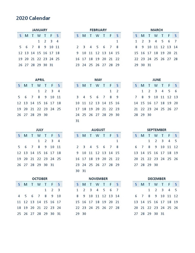 2020 Yearly Calendar Printable 12 Months | Calendar Shelter