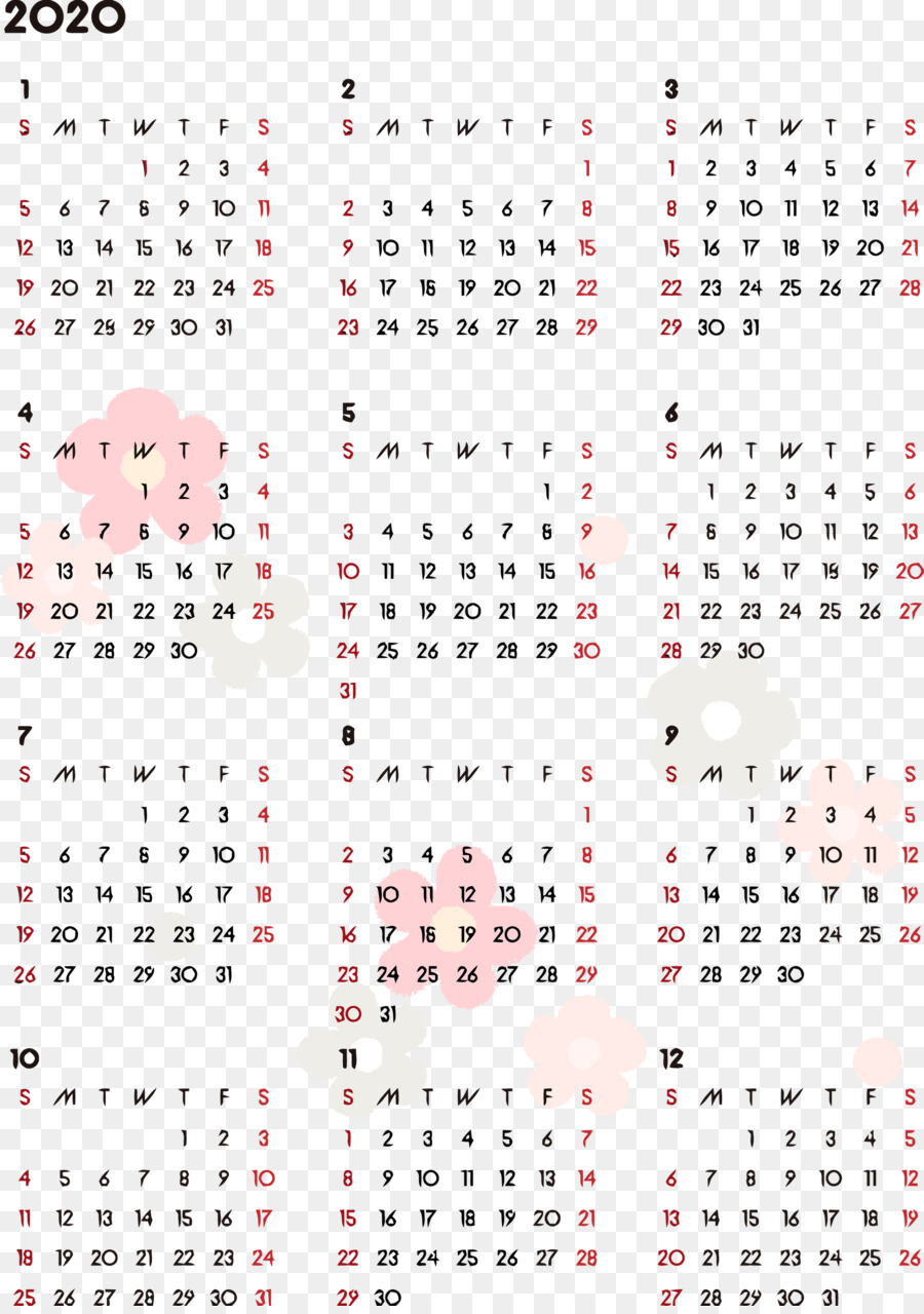 2020 Yearly Calendar Printable 2020 Yearly Calendar Year
