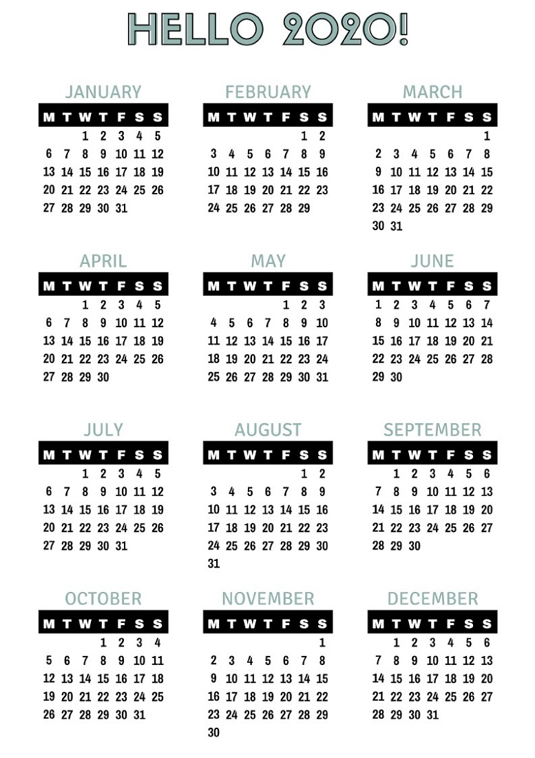 2020 Yearly Calendar Printable Full Pages | Calendar Shelter