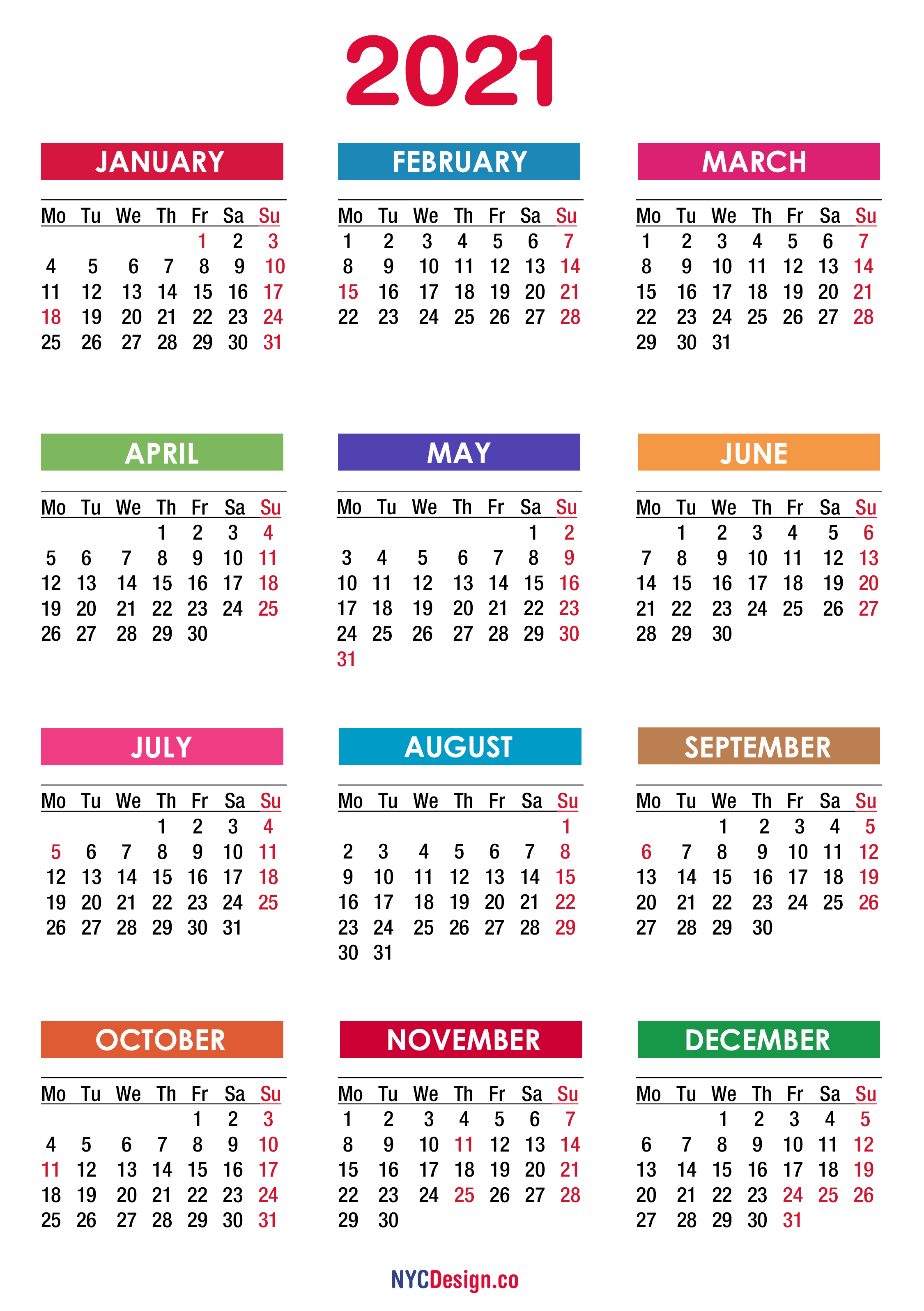 Free Printable Monthly Calendars Monday Start | Example ...