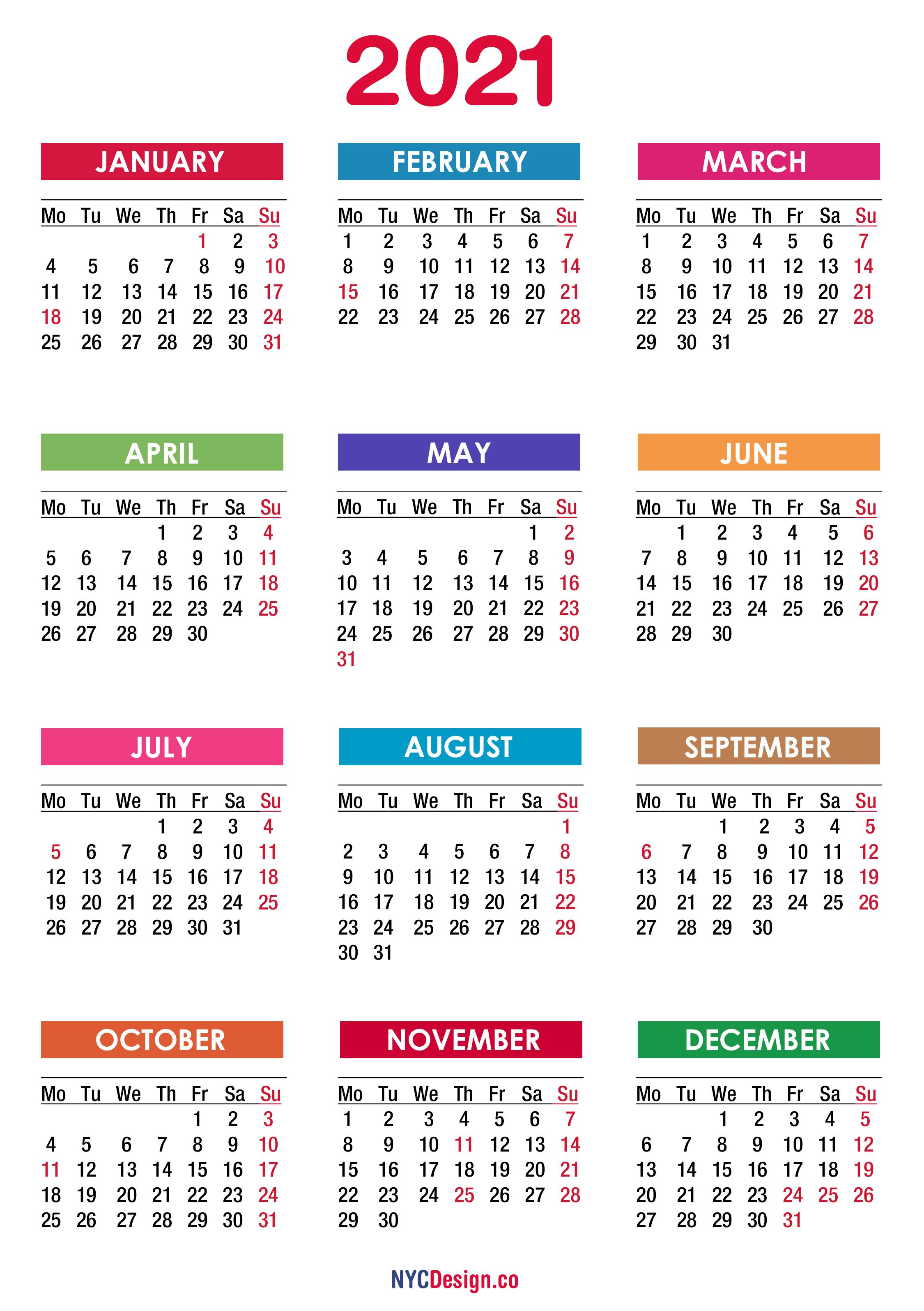 2021 Calendar With Holidays, Printable Free, Pdf, Colorful