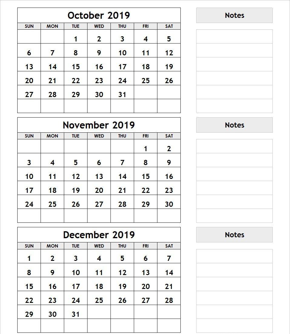 3 Month Calendar October November December 2019 | December