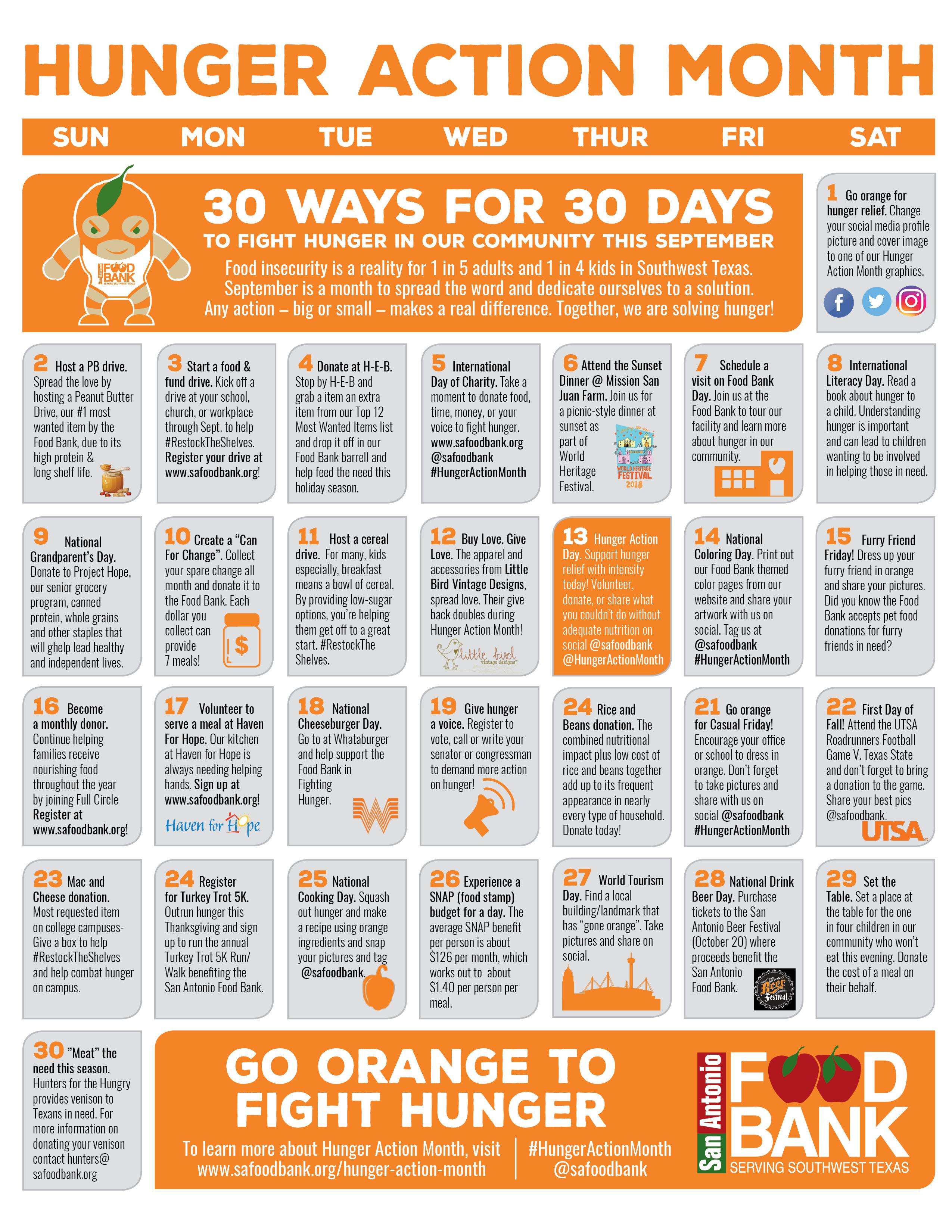 30 Ways For 30 Days Calendar - San Antonio Food Bank
