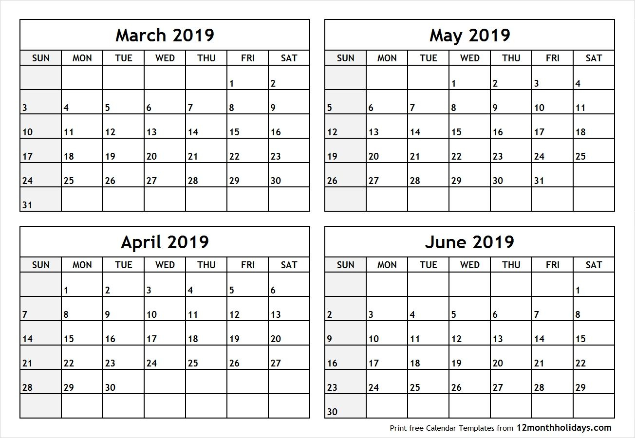 4 Month Blank Calendar 2019 March April May June #april #may