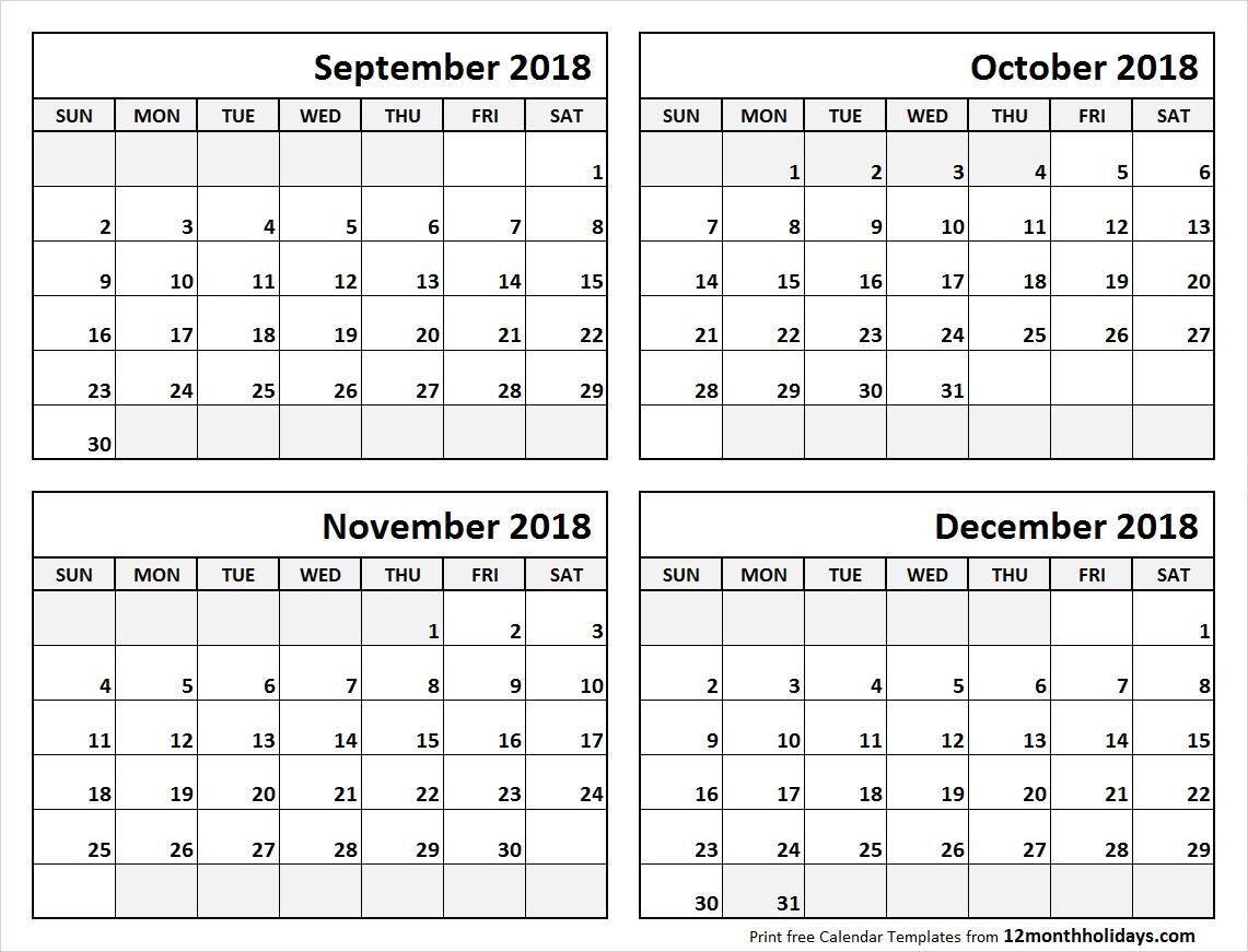4 Month Calendar September To December 2018   Blank Calendar
