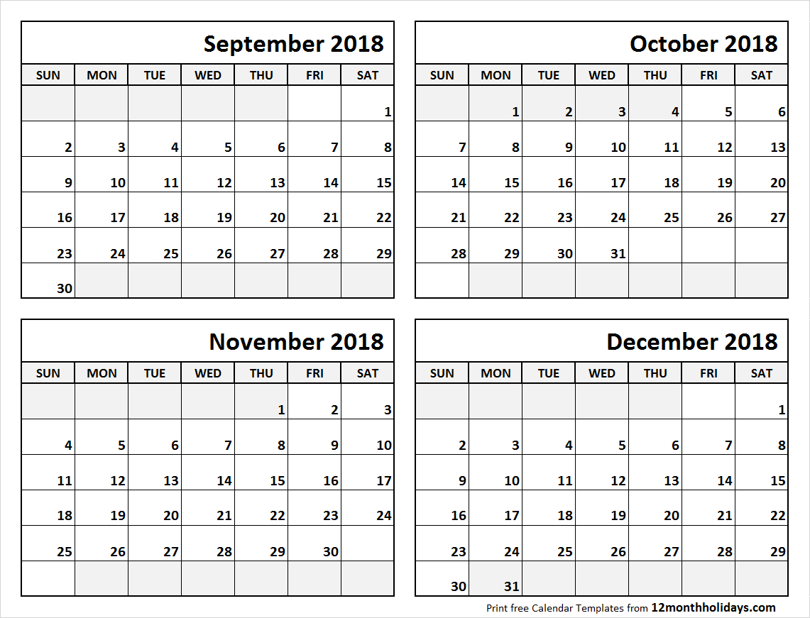 4 Month Calendar September To December 2018 | Blank Calendar