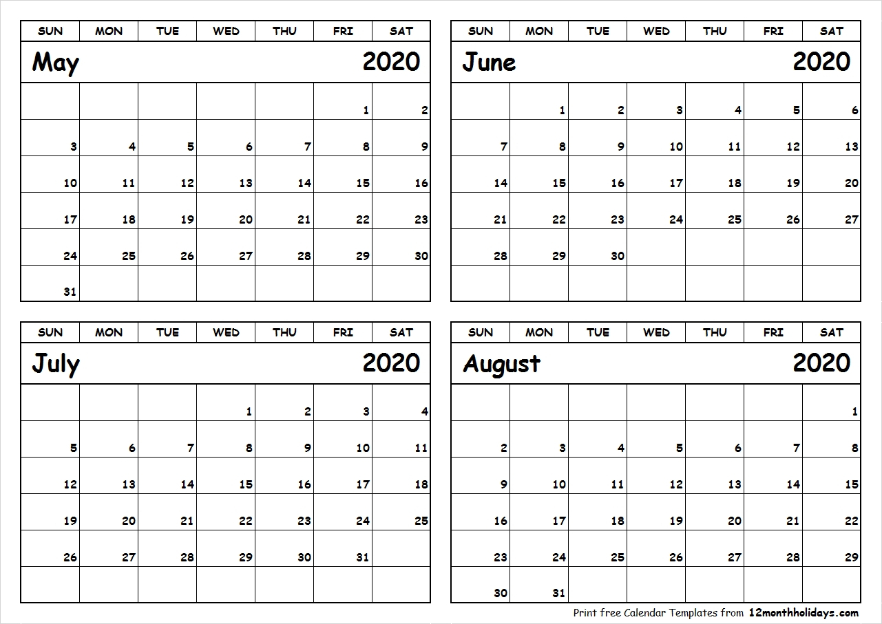 4 Month Printable Calendar 2020 | Monthly Printable Calender