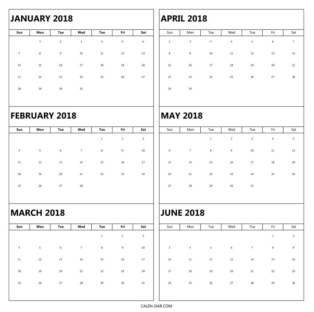 6 Month 2018 Calendar Printable | Excel Calendar Template