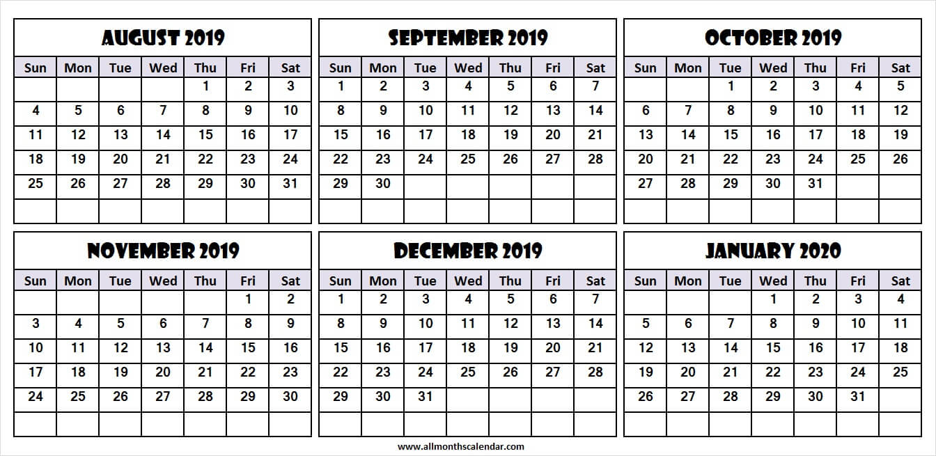 6 Month Calendar August 2019 To January 2020   Download 2019