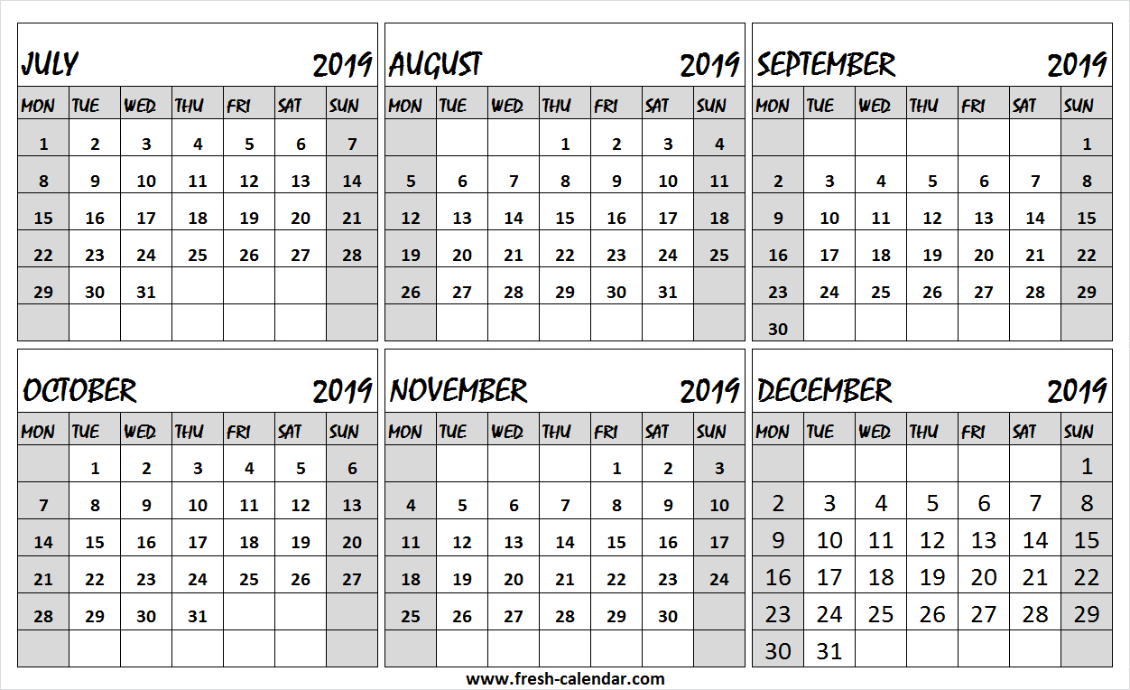 6 Month Calendar July To December 2019 Free | Editable 2019
