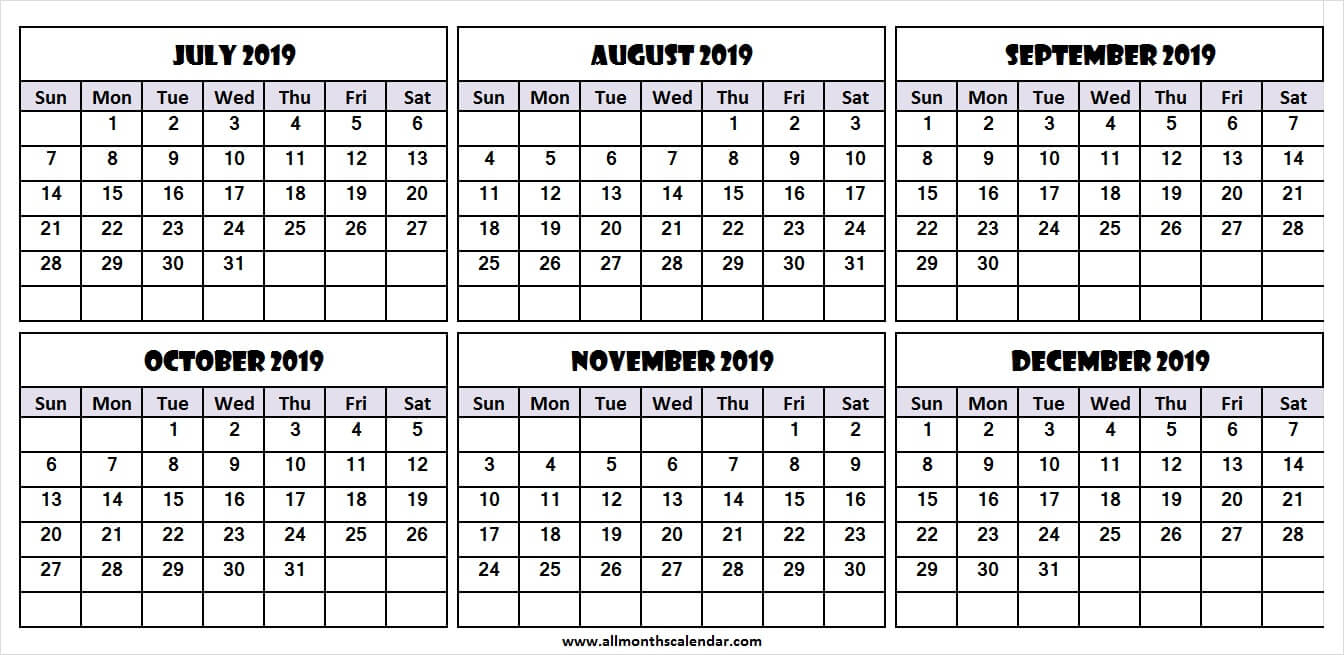 6 Month Calendar July To December 2019 Template | Download